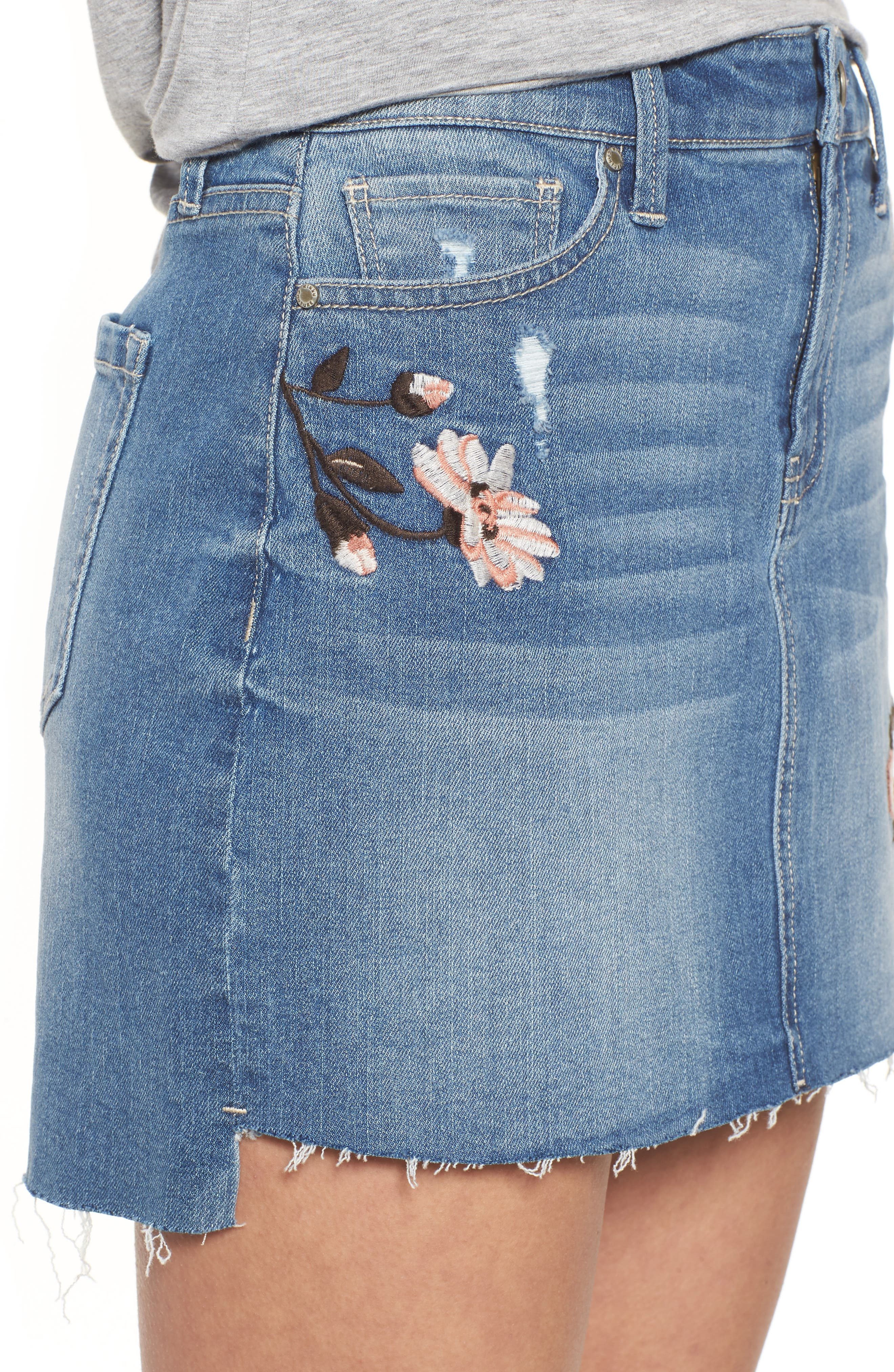 Embroidered Step Hem Denim Skirt,                             Alternate thumbnail 4, color,                             Light Wash