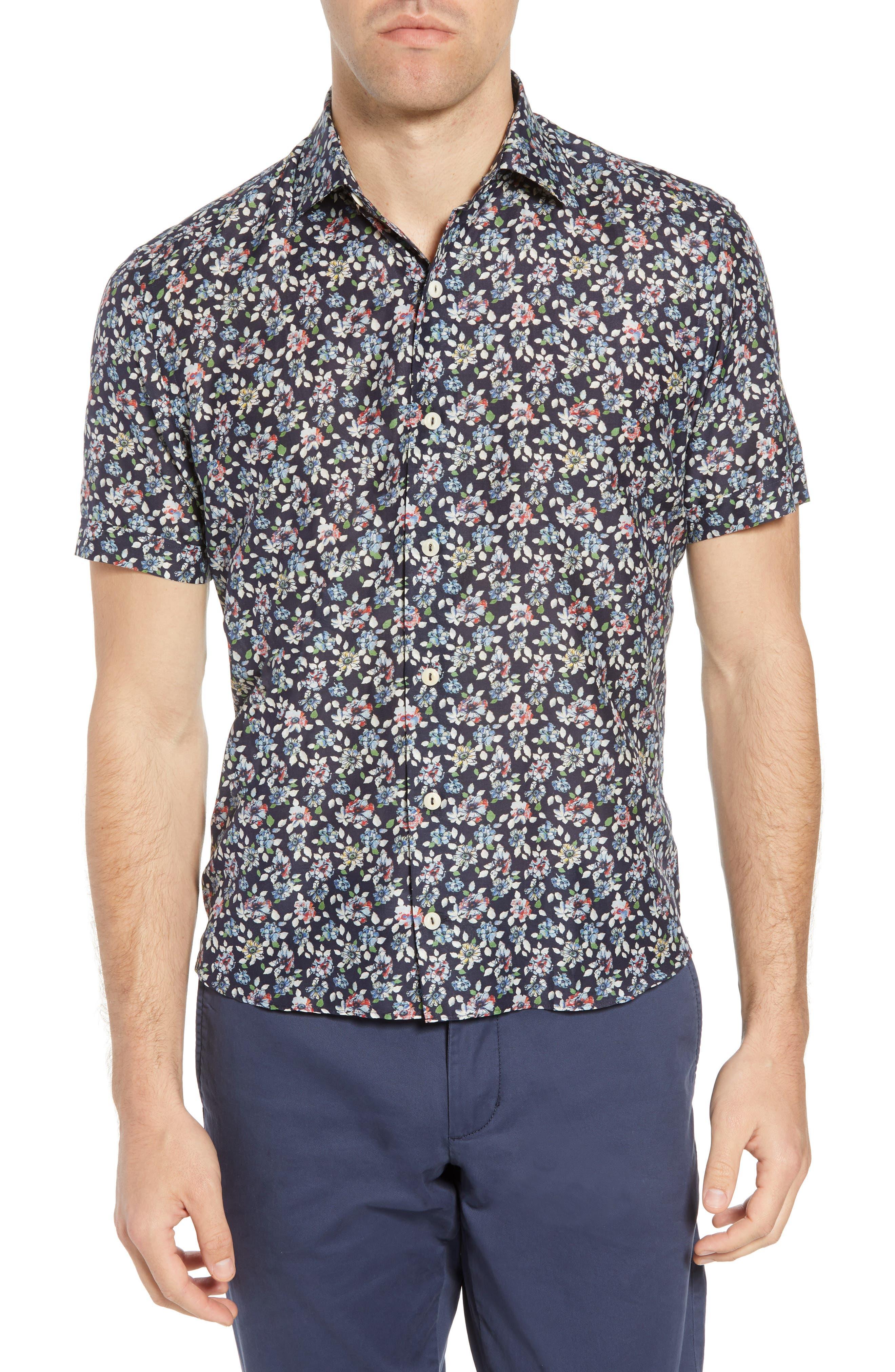 Trim Fit Print Cotton & Silk Sport Shirt,                         Main,                         color, Navy