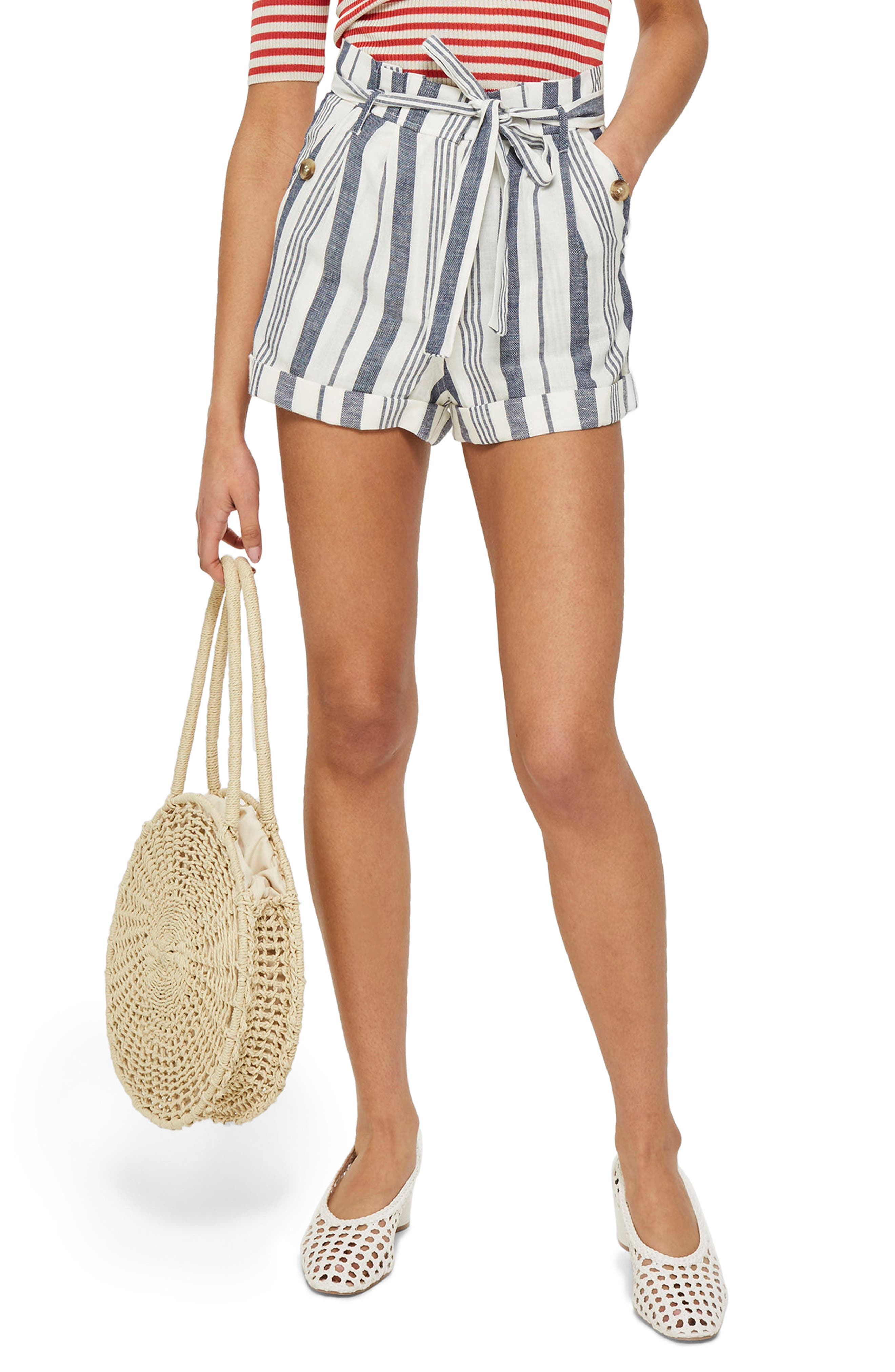 Stripe Paperbag Shorts,                         Main,                         color, Ivory Multi