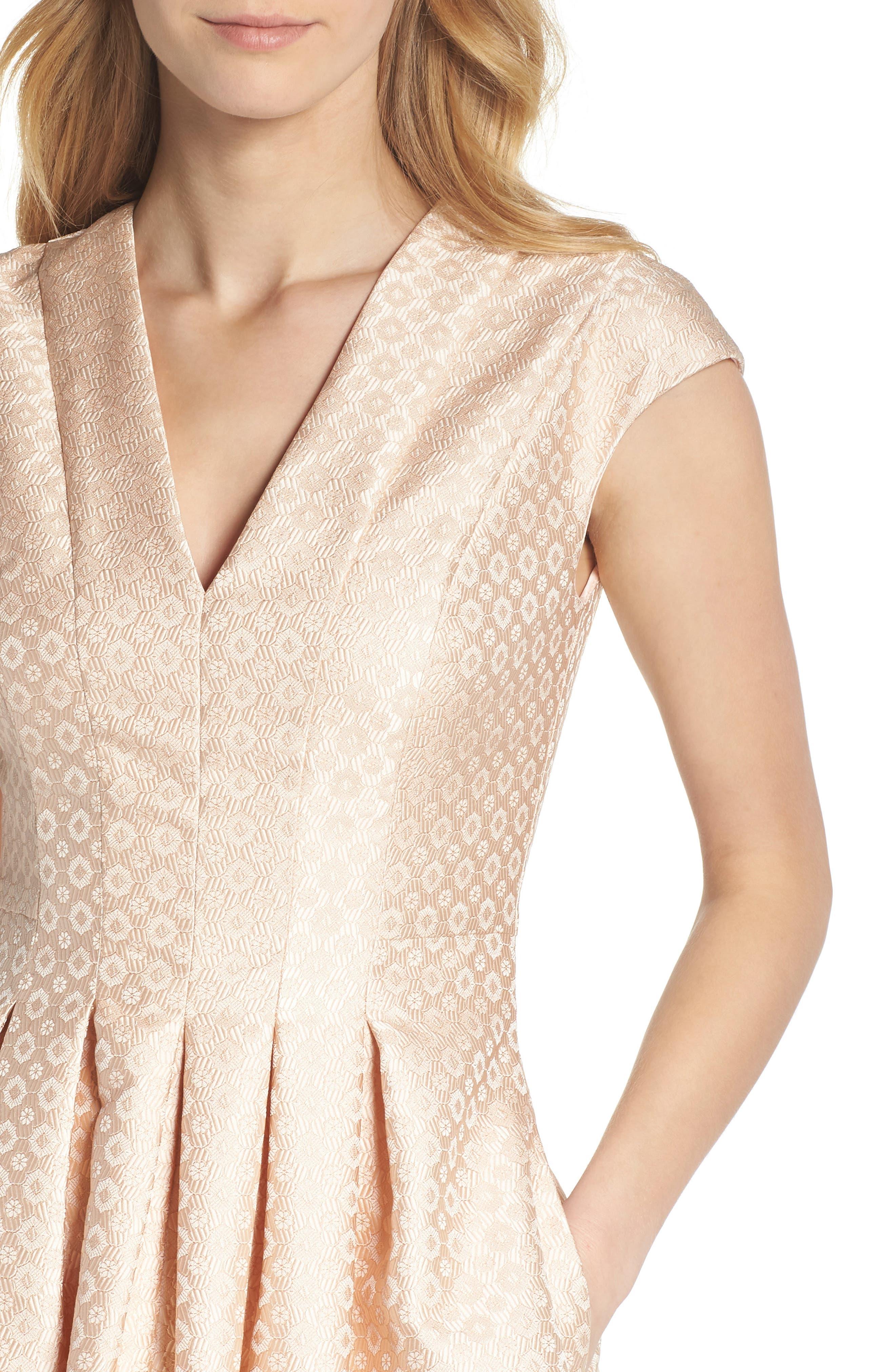 Grace Pleated Jacquard Fit & Flare Dress,                             Alternate thumbnail 6, color,                             Cream