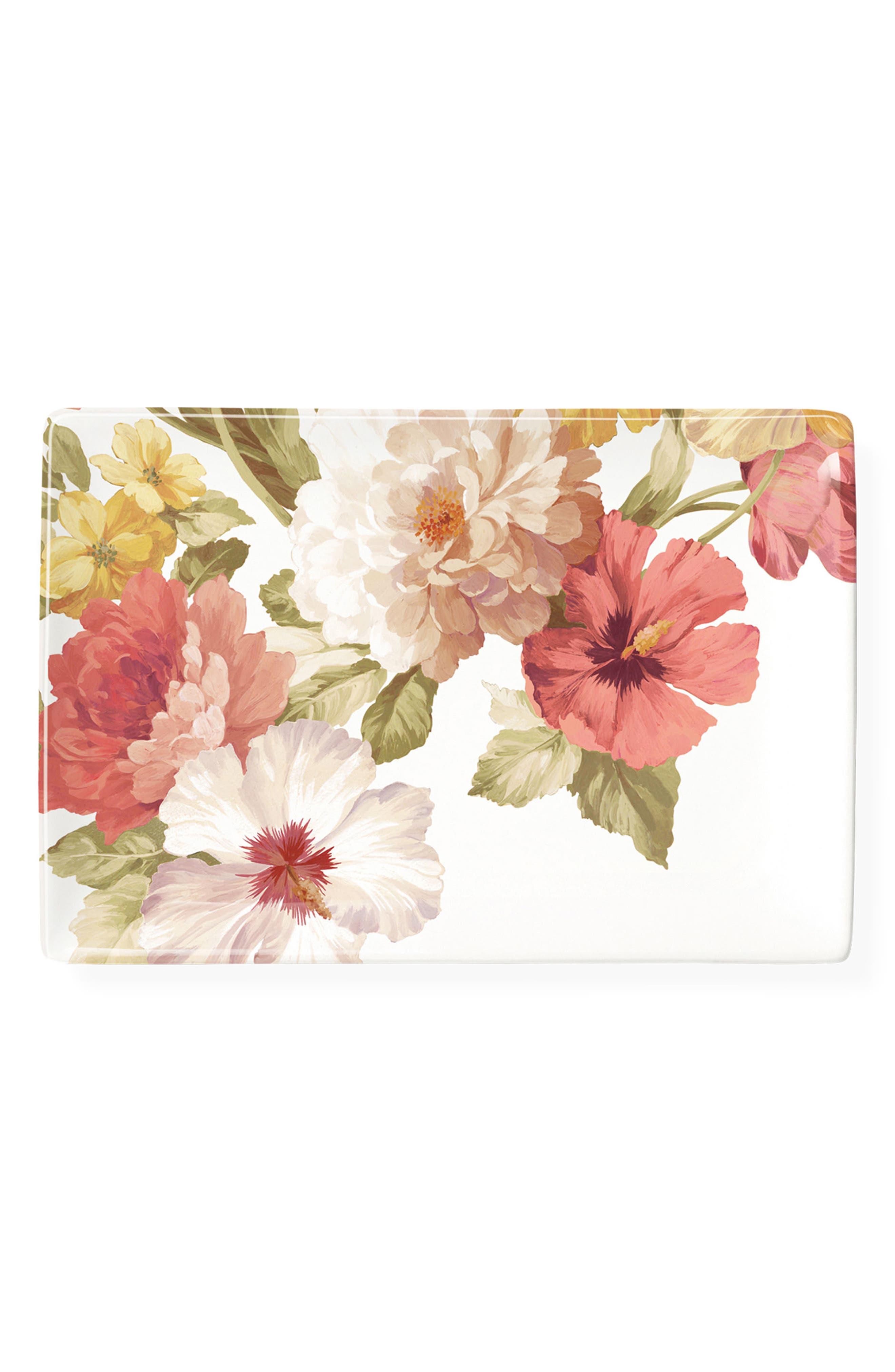 Garden Ceramic Tray,                             Main thumbnail 1, color,                             Pink