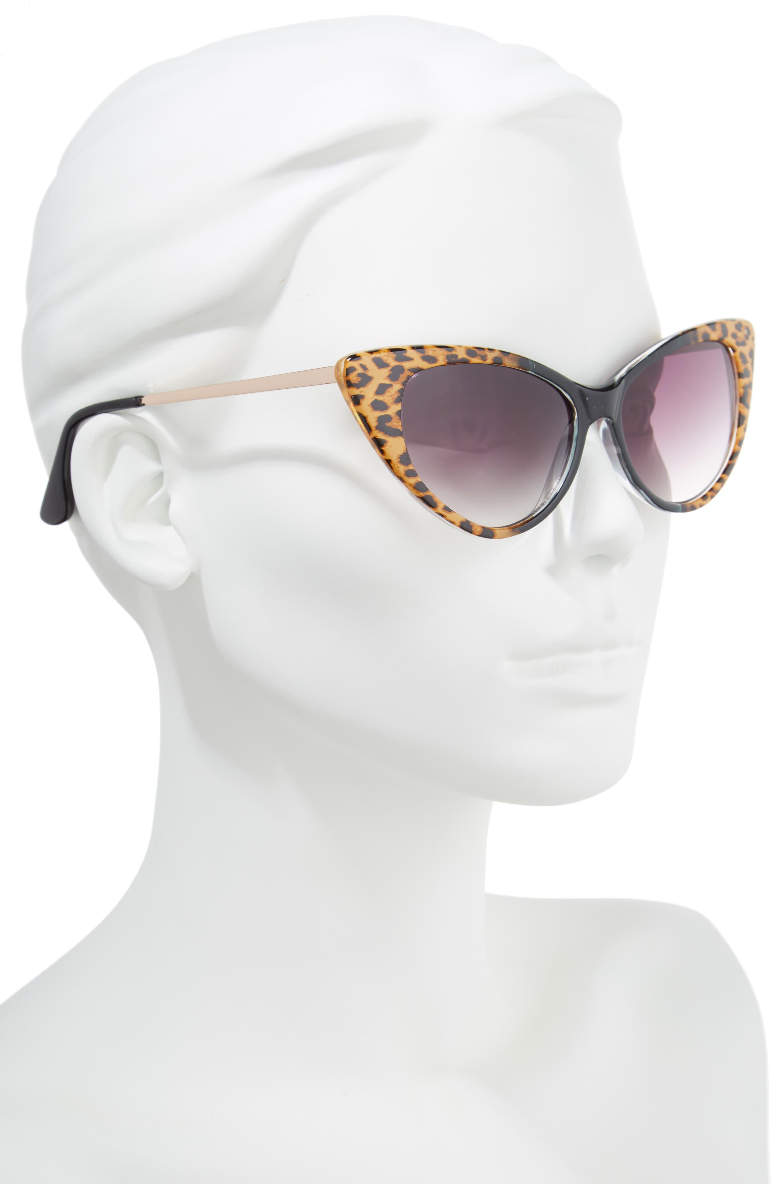 62mm Leopard Print Cat Eye Sunglasses,                             Alternate thumbnail 2, color,                             Leopard/ Black