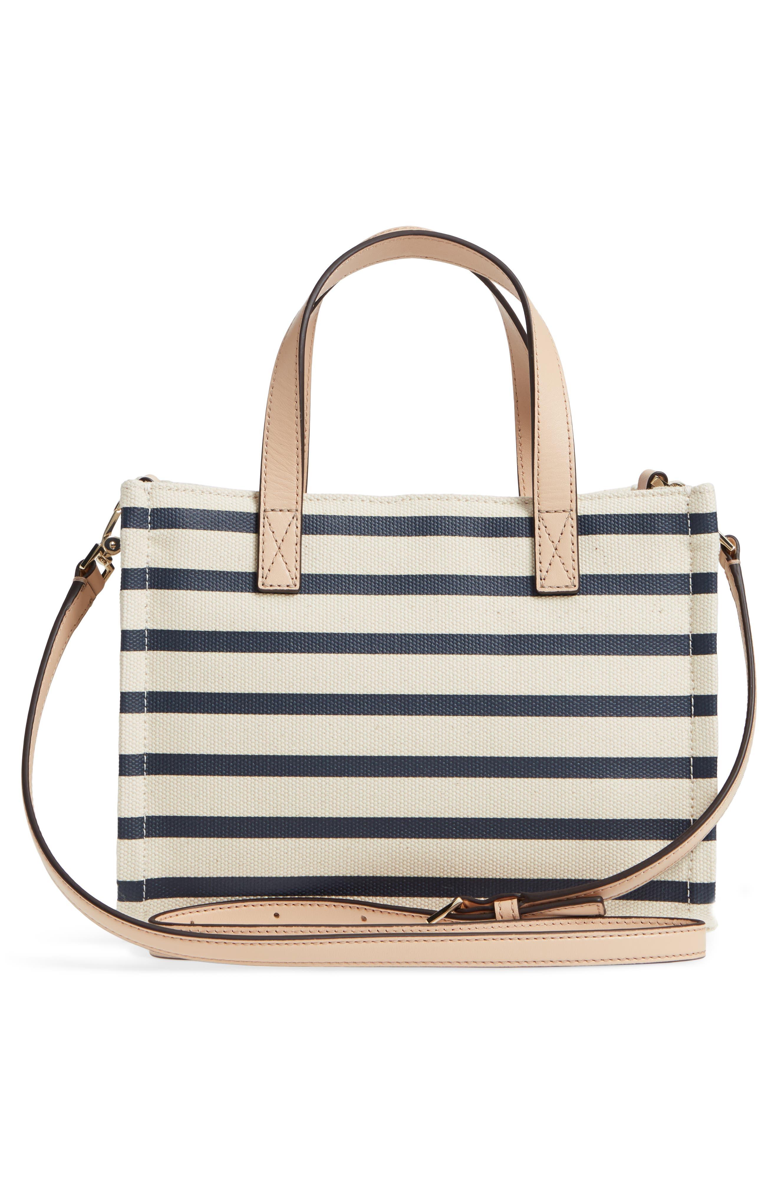 washington square - sam canvas handbag,                             Alternate thumbnail 3, color,                             Rich Navy Stripe