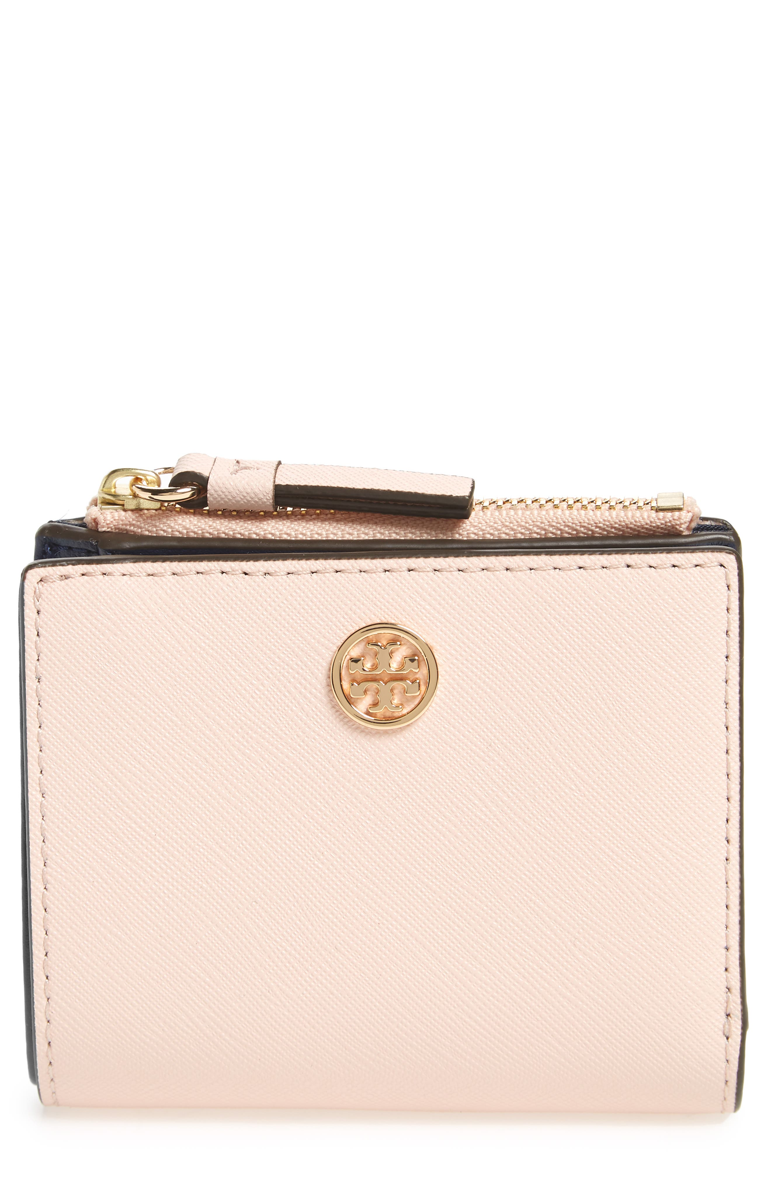 Mini Robinson Wallet Leather Bifold Wallet,                             Main thumbnail 1, color,                             Pale Apricot / Royal Navy