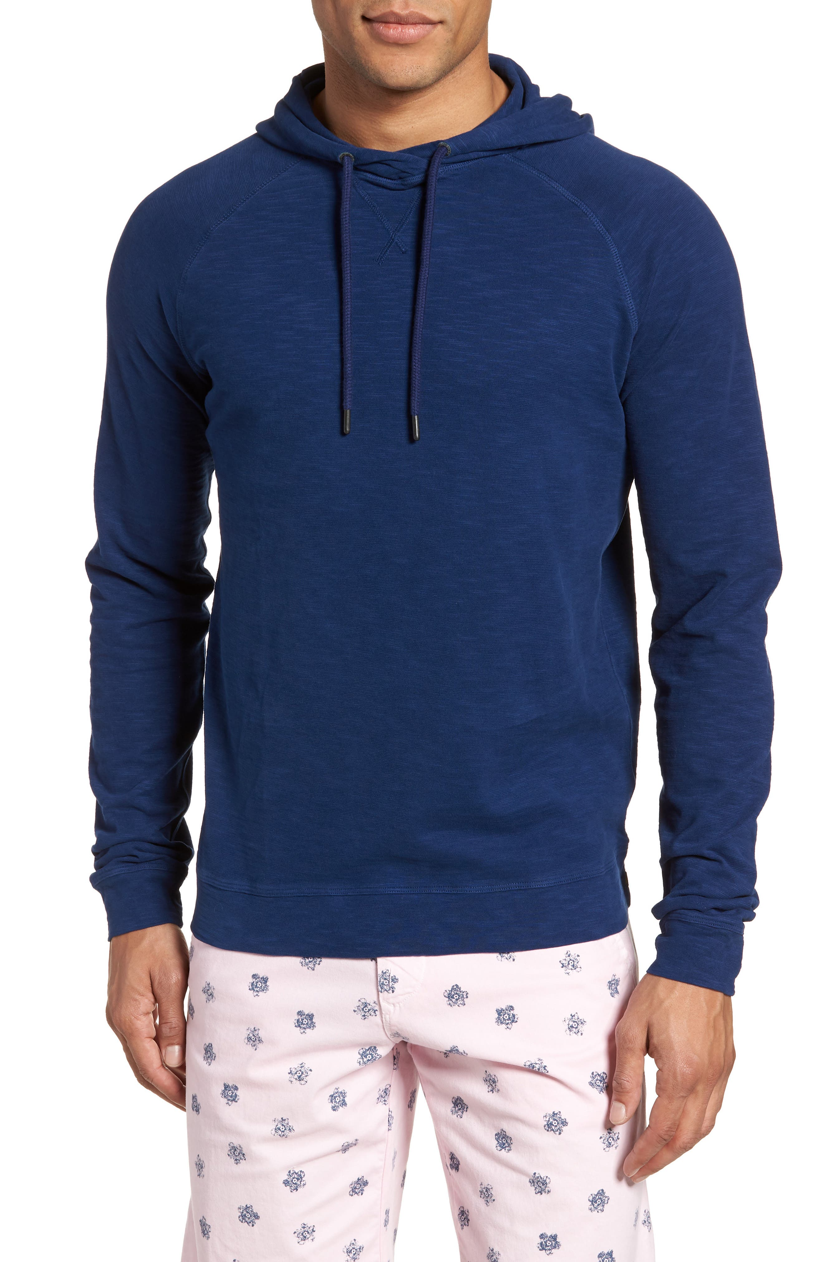 Trim Fit Pullover Hoodie,                         Main,                         color, Blue
