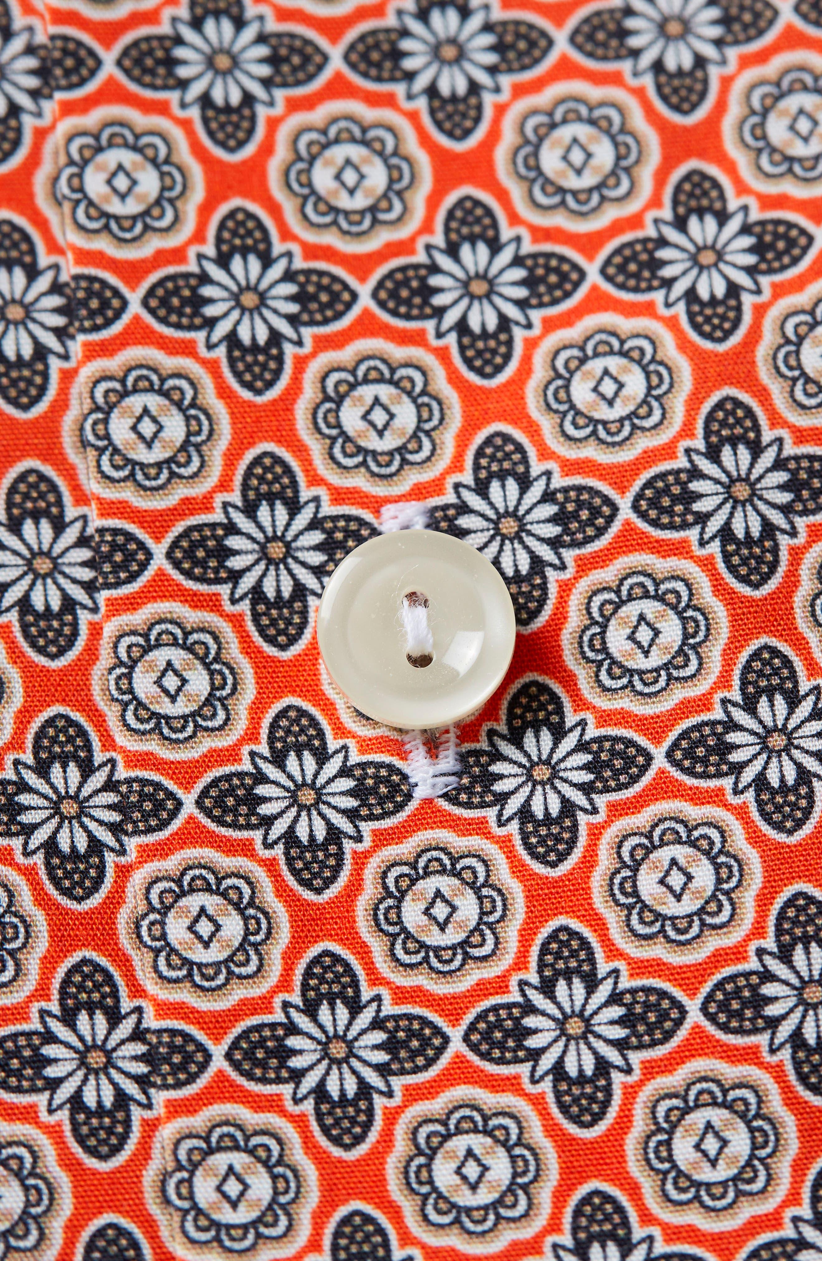 Slim Fit Floral Geometric Dress Shirt,                             Alternate thumbnail 3, color,                             Yellow/ Orange