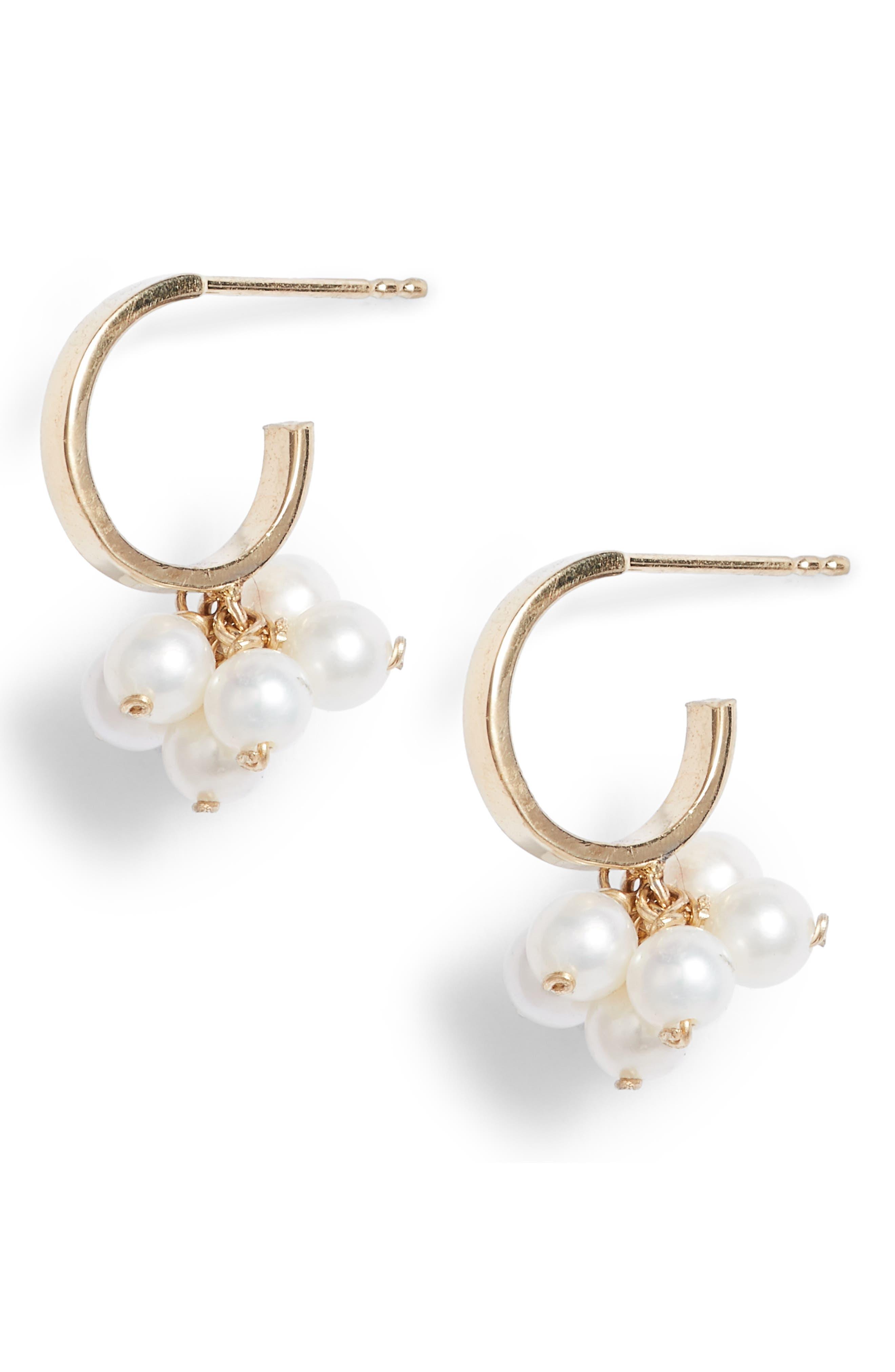 Poppy Finch Baby Pearl Cluster Small Hoop Earrings
