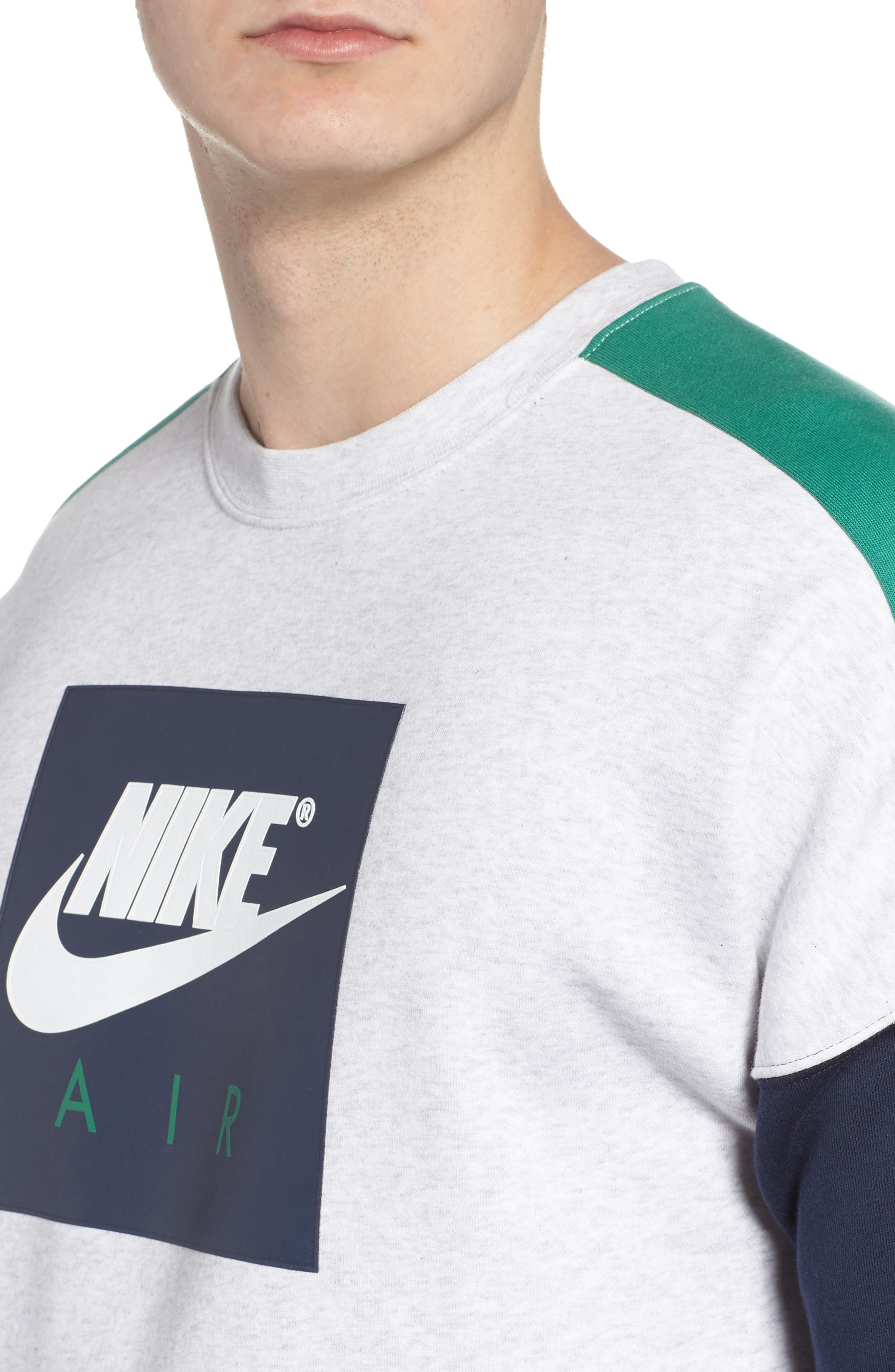 NSW Air Crewneck Sweatshirt,                             Alternate thumbnail 4, color,                             Birch/ Green/ Obsidian/ White