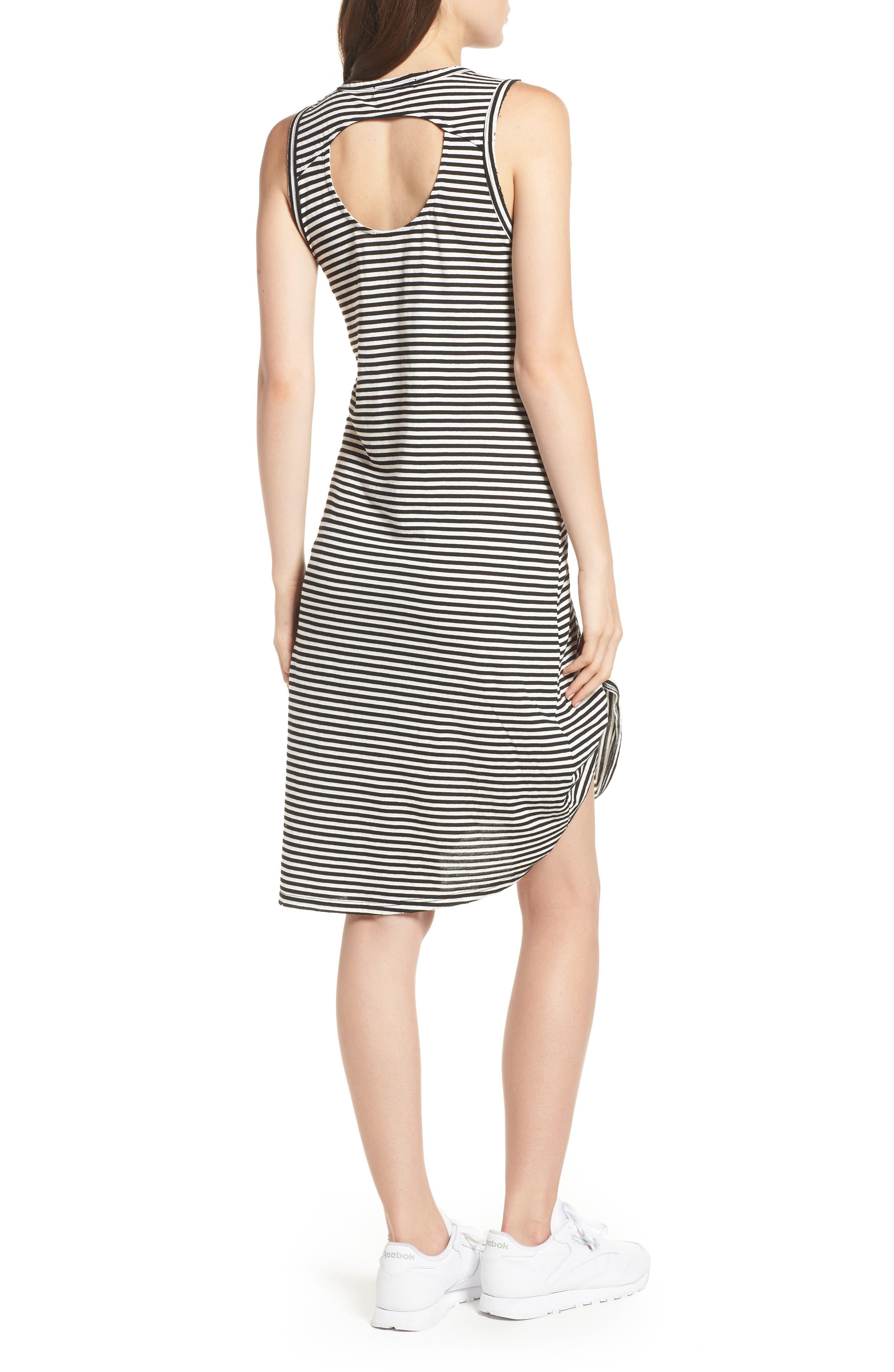 Boo Stripe High/Low Dress,                             Alternate thumbnail 2, color,                             Black Cat/ White Stripe