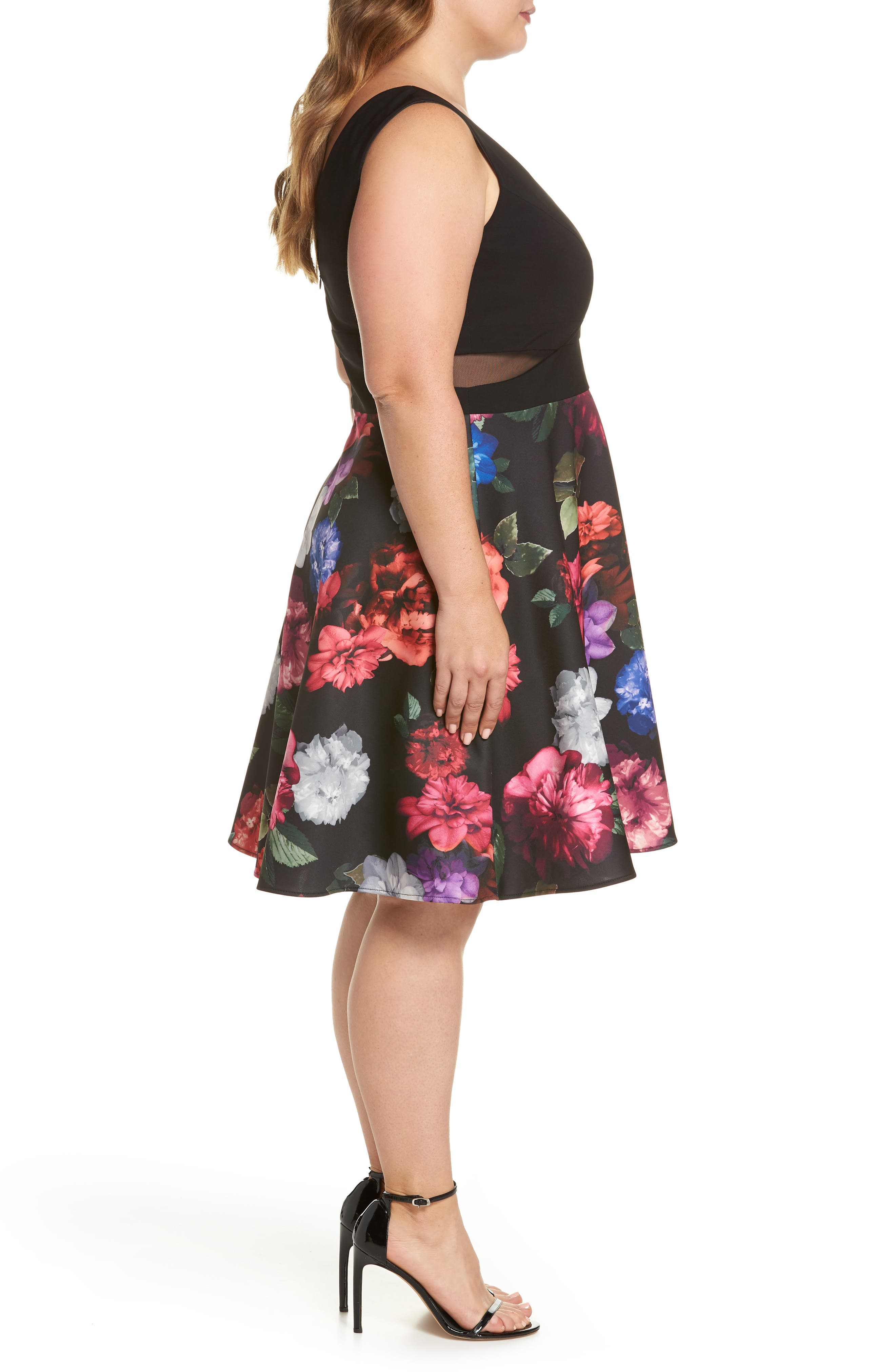 Floral Print Fit & Flare Dress,                             Alternate thumbnail 3, color,                             Black/ Purple