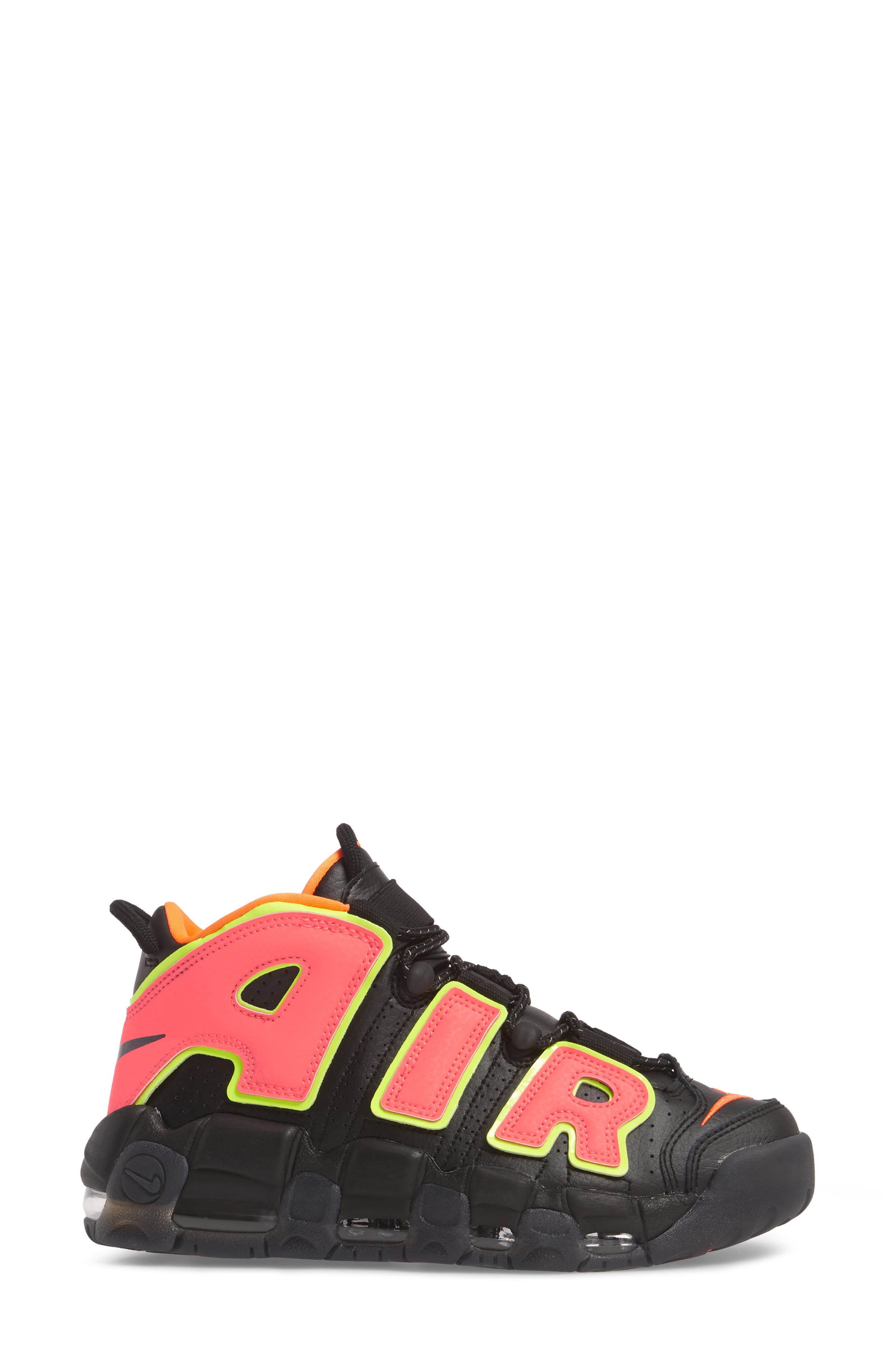 Air More Uptempo Sneaker,                             Alternate thumbnail 3, color,                             Black/ Punch/ Total Orange