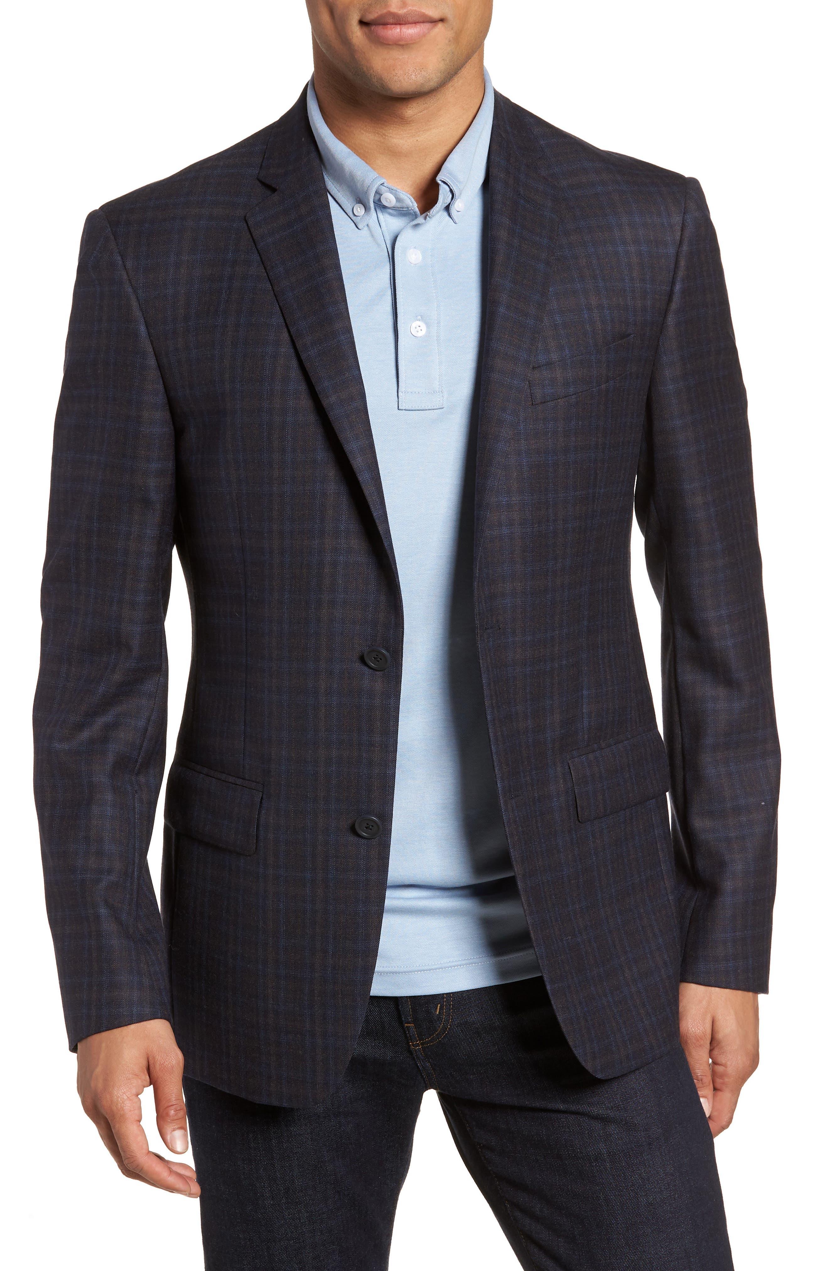 Nordstrom Men's Shop Trim Fit Plaid Wool Sport Coat