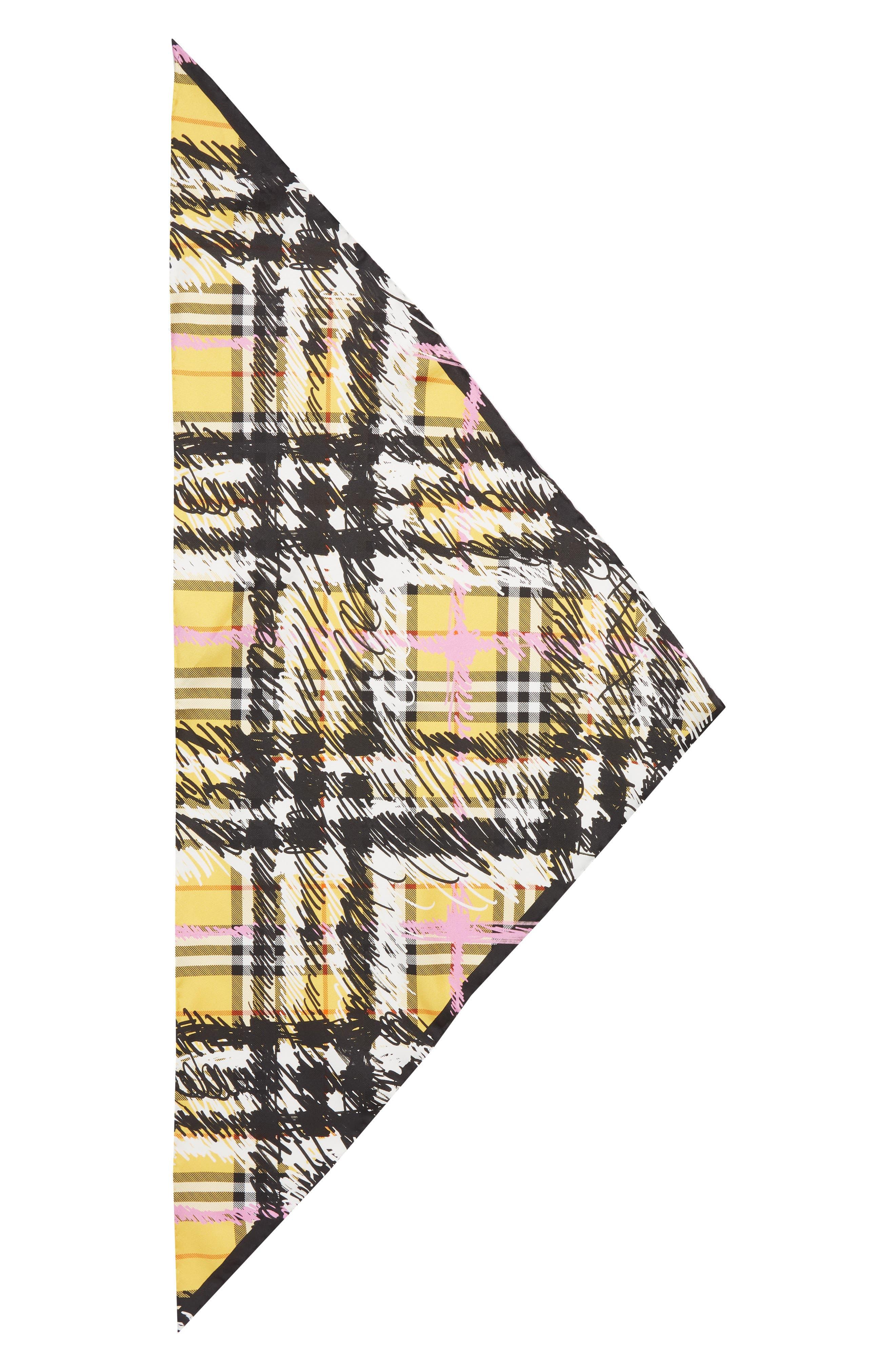 Scribble Vintage Check Silk Scarf,                         Main,                         color, Bright Yellow