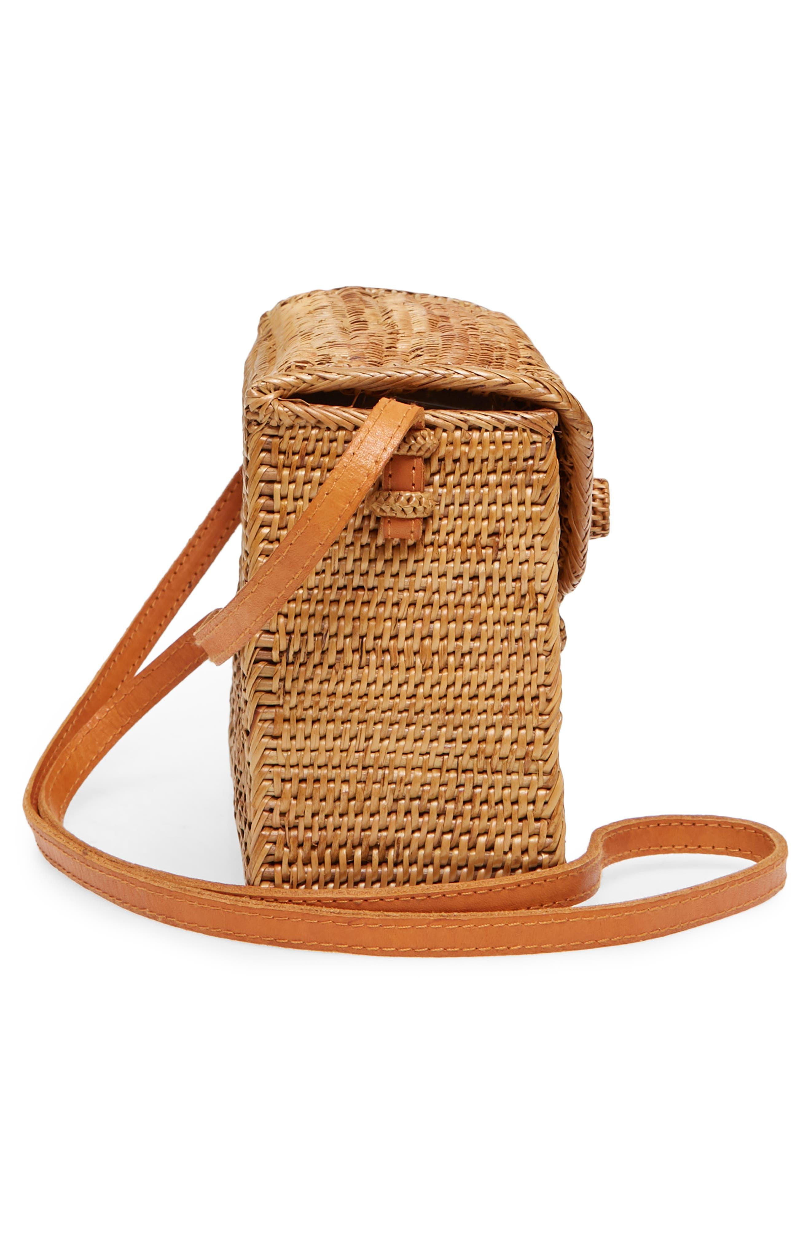 Woven Rattan Box Crossbody Bag,                             Alternate thumbnail 5, color,                             Tan