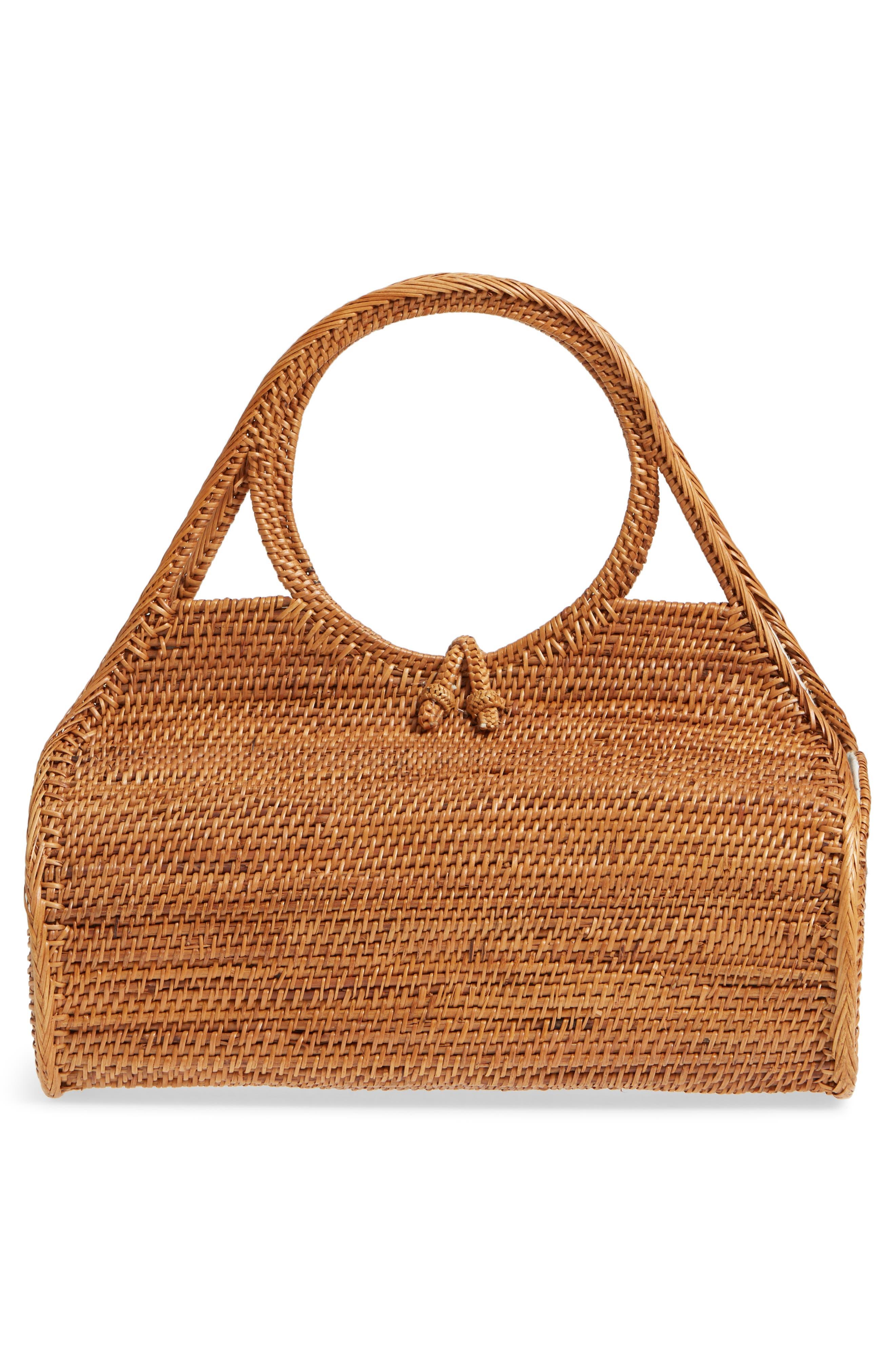 Woven Rattan Handbag,                             Alternate thumbnail 3, color,                             Tan