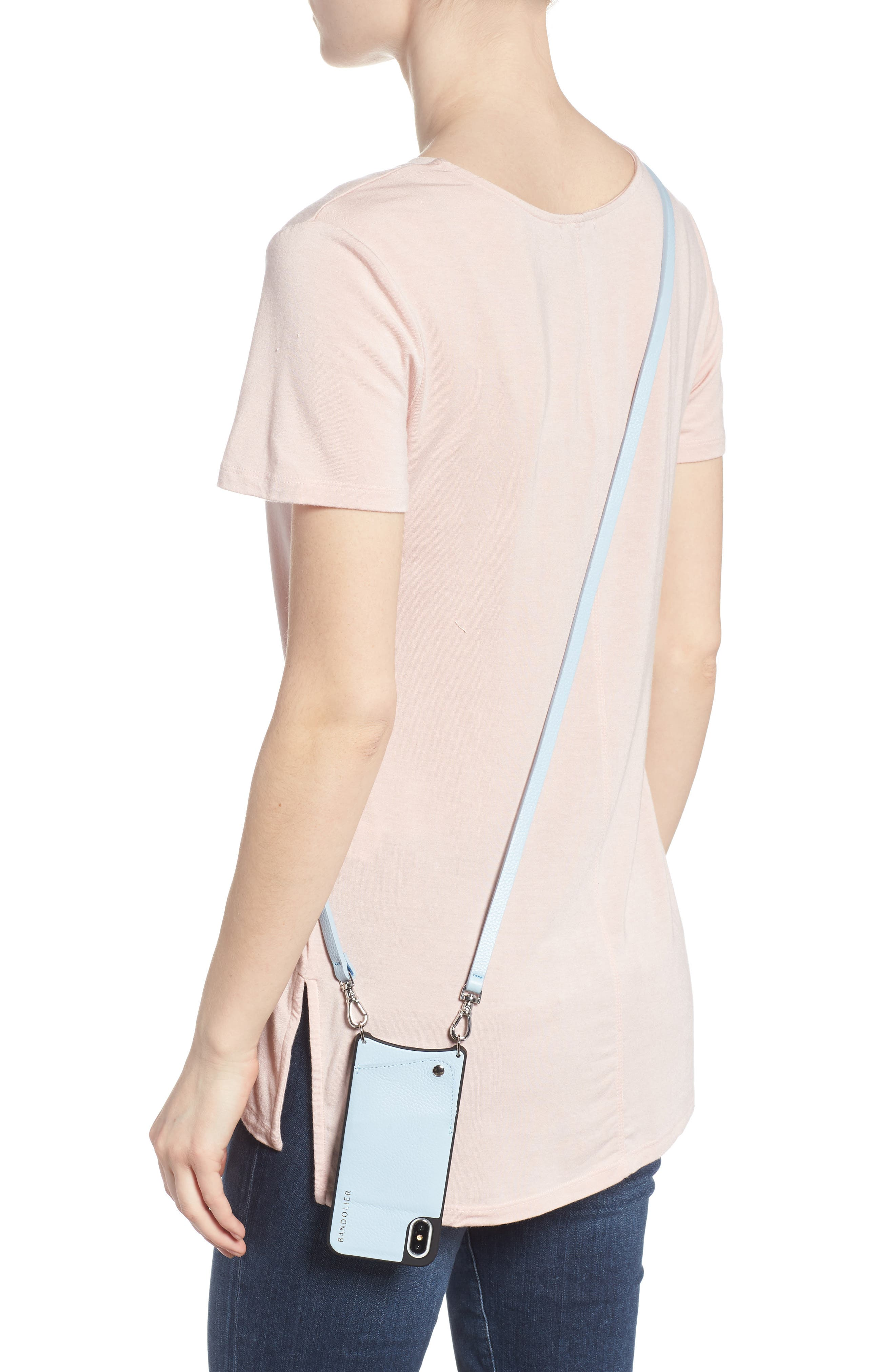 Emma iPhone X Crossbody Case,                             Alternate thumbnail 2, color,                             Light Blue/ Silver