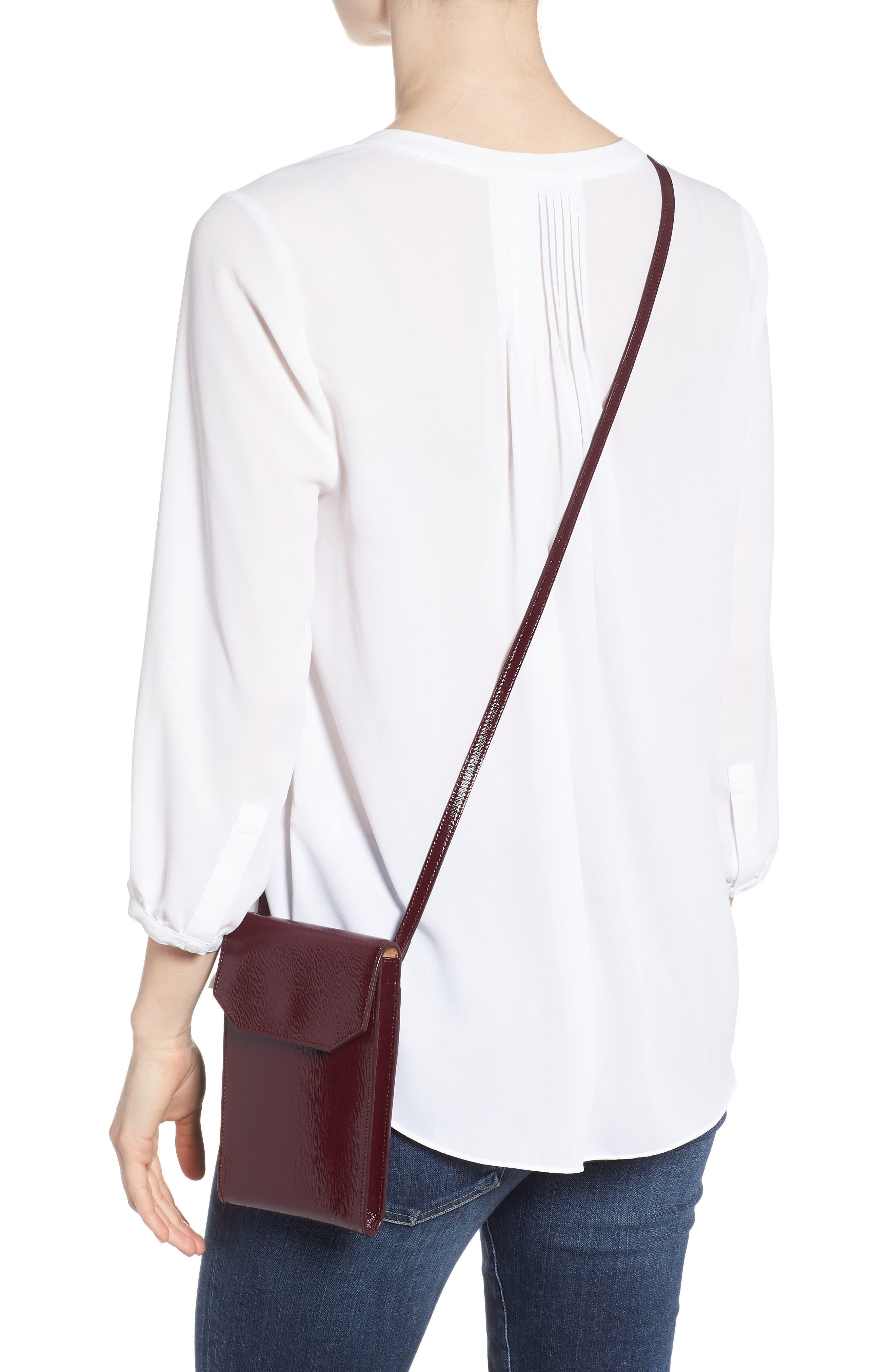 Leather Phone Crossbody Bag,                             Alternate thumbnail 2, color,                             Burgundy Royale