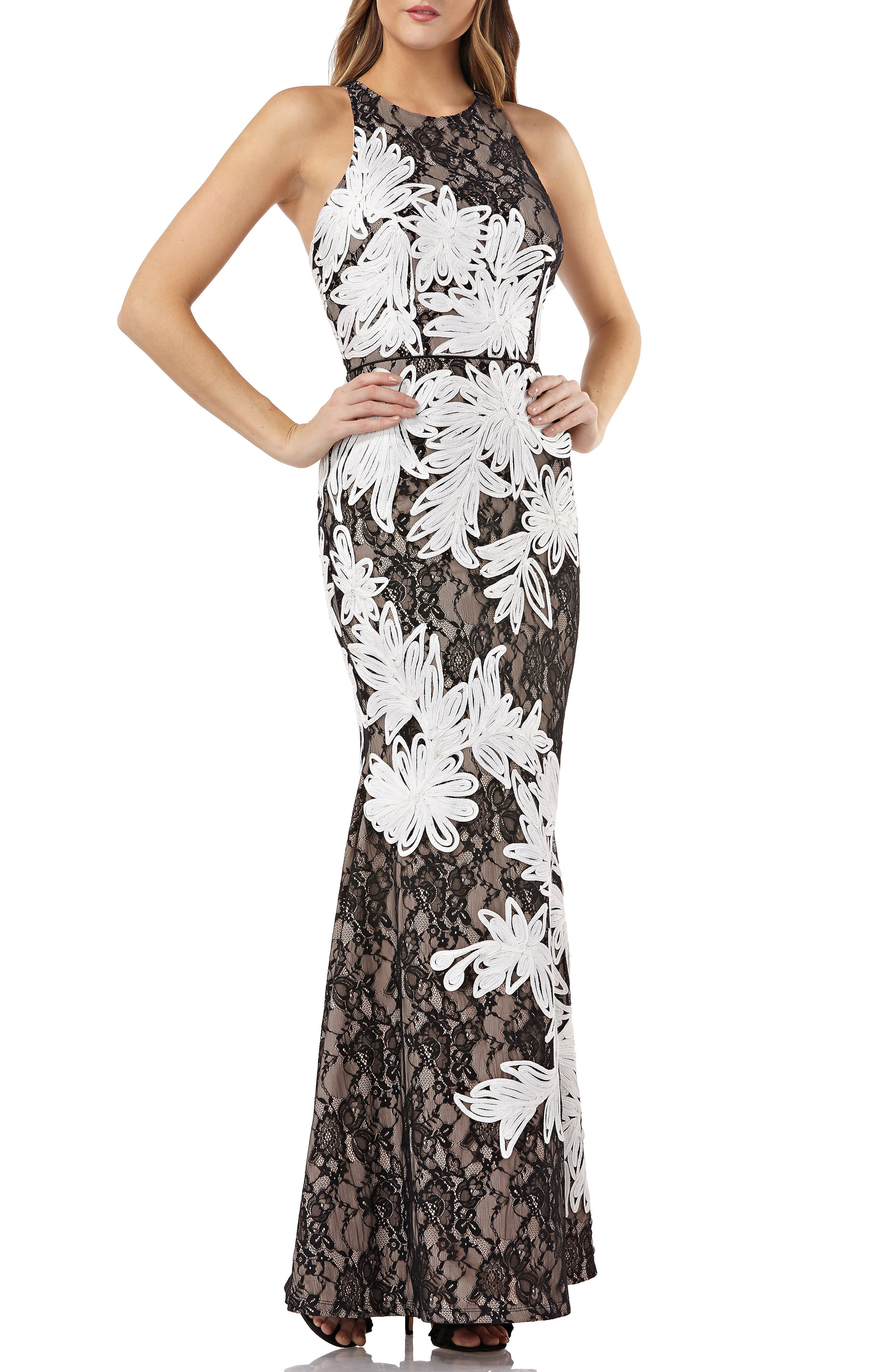JS COLLECTIONS SOUTACHE EMBROIDERED LACE HALTER GOWN