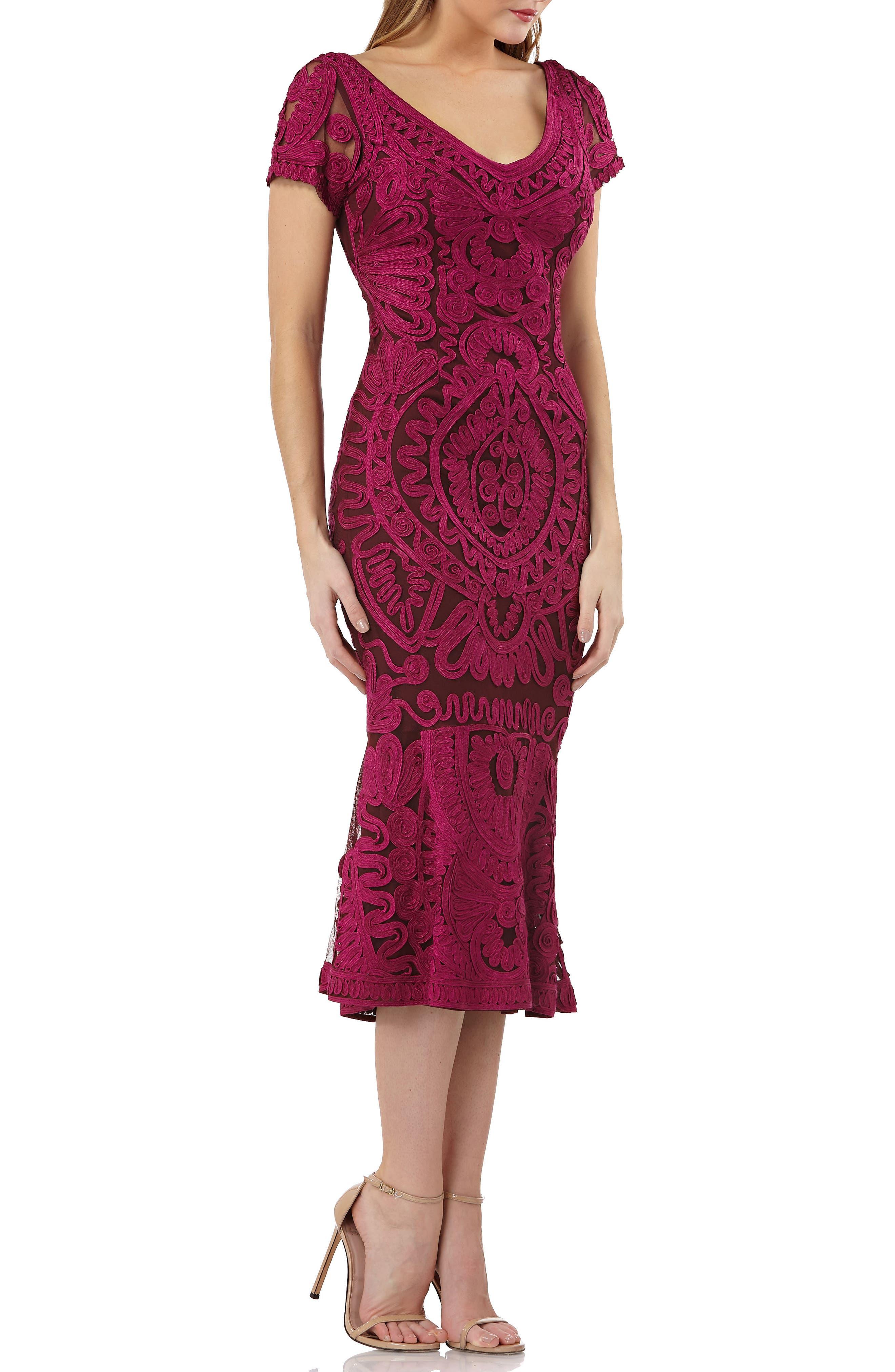 Soutache Trumpet Dress,                         Main,                         color, Magenta