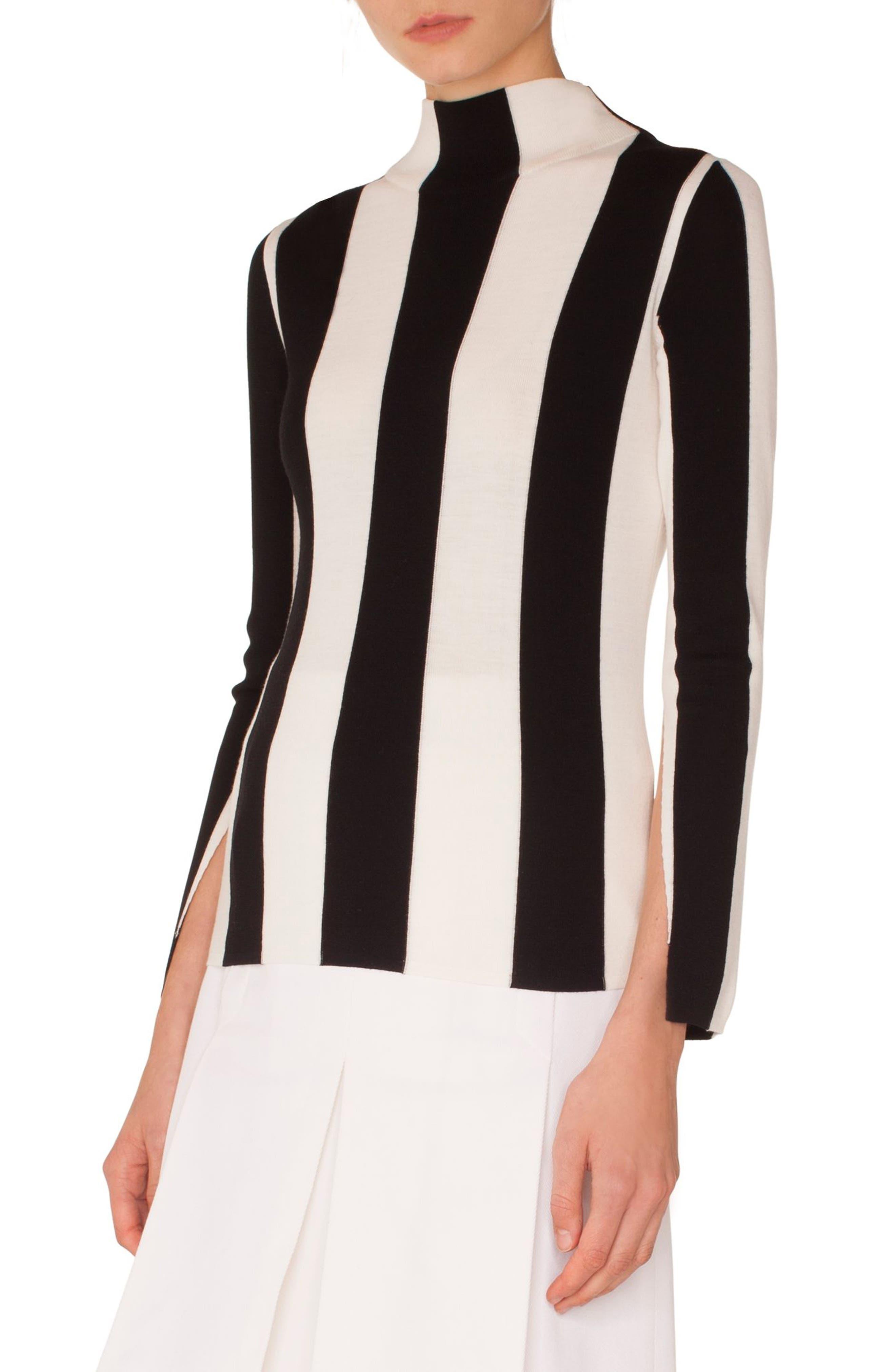 Akris punto Stripe Knit Wool Pullover