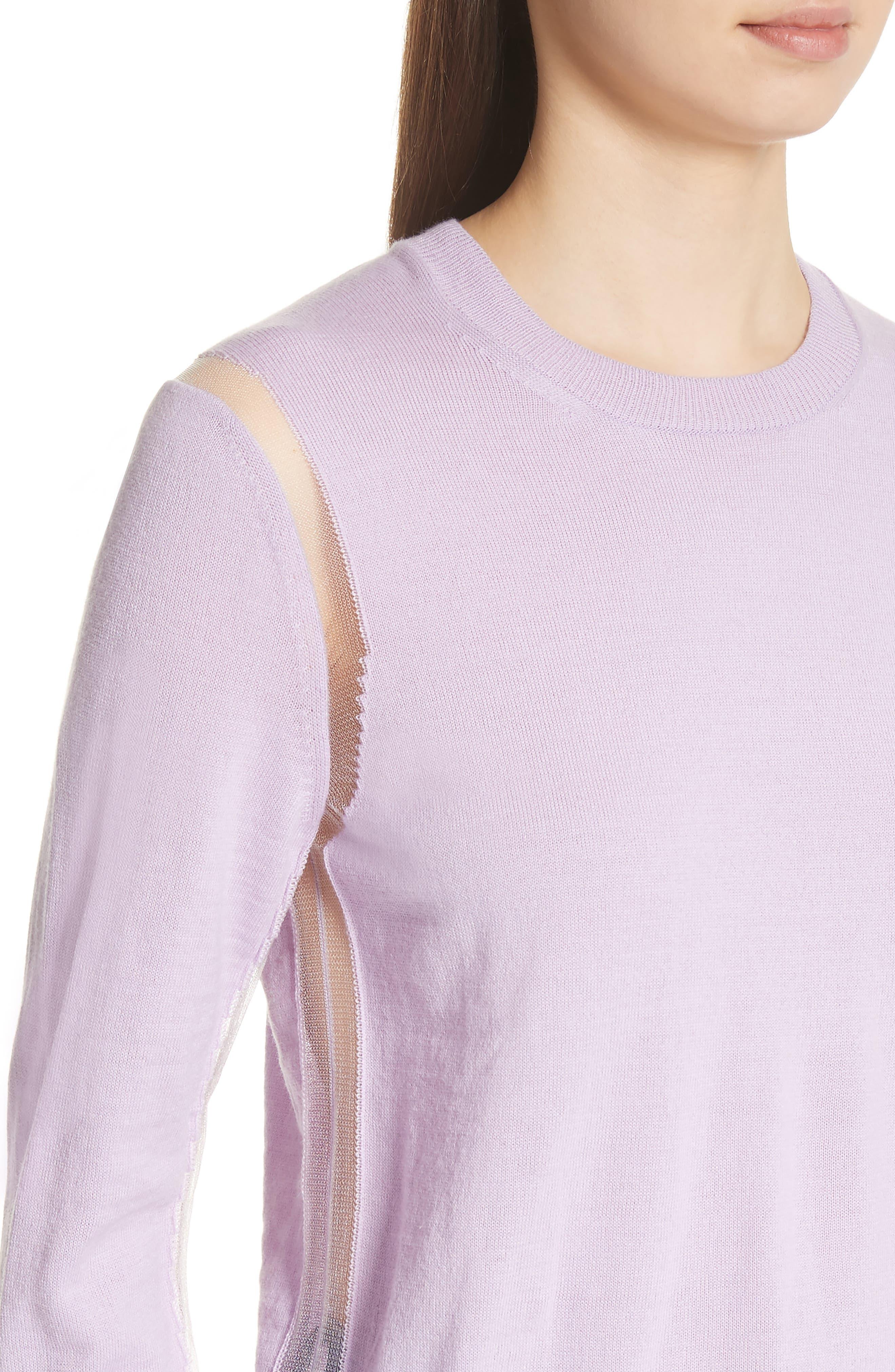 Sheer Panel Crewneck Sweater,                             Alternate thumbnail 4, color,                             Purple