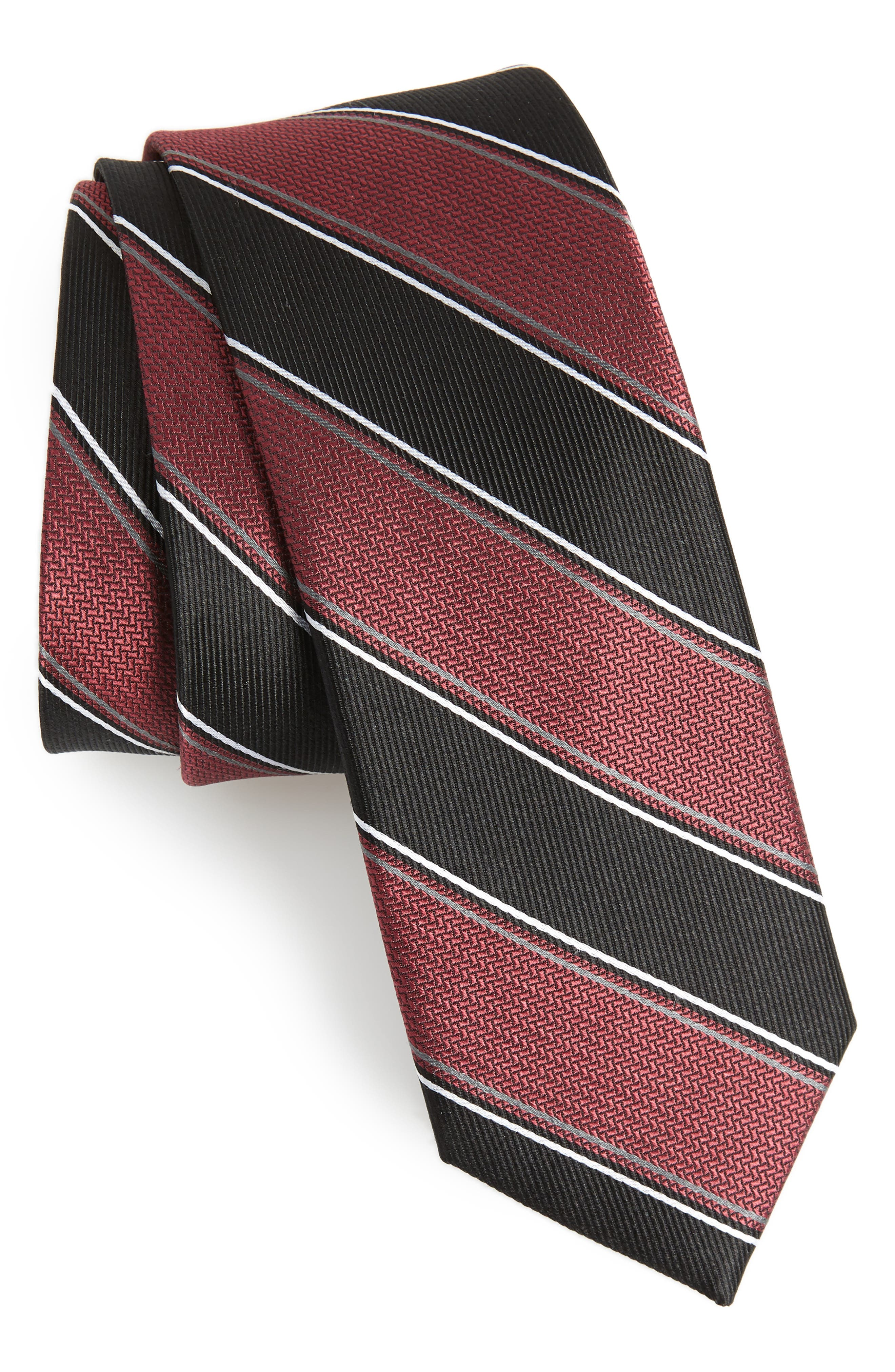 Stripe Silk Tie,                             Main thumbnail 1, color,                             Burgundy