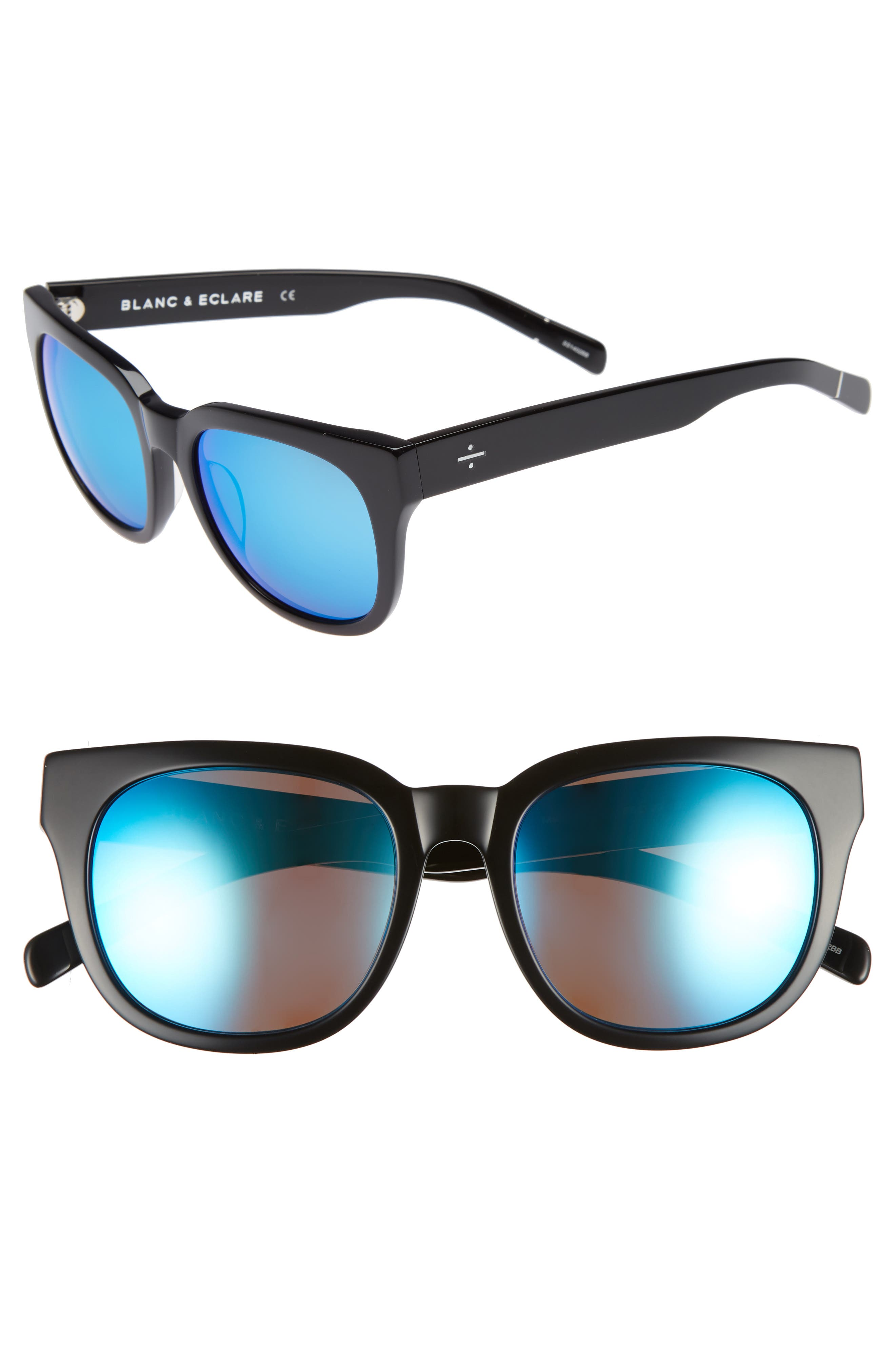 BLANC & ECLARE Seoul 55mm Polarized Sunglasses,                         Main,                         color, Black/ Blue Mirror