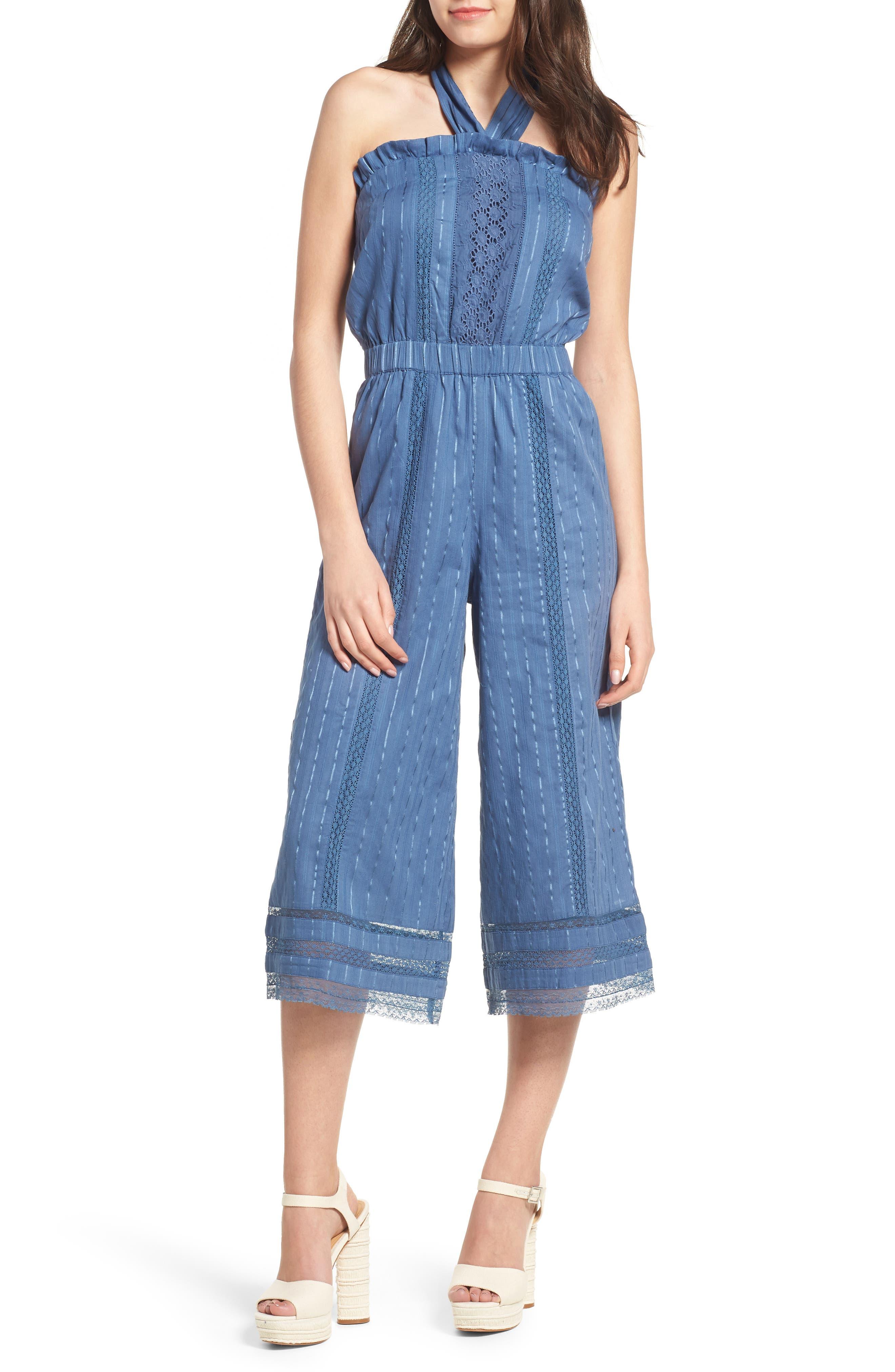 Suri Halter Crop Jumpsuit,                             Main thumbnail 1, color,                             Horizon Blue