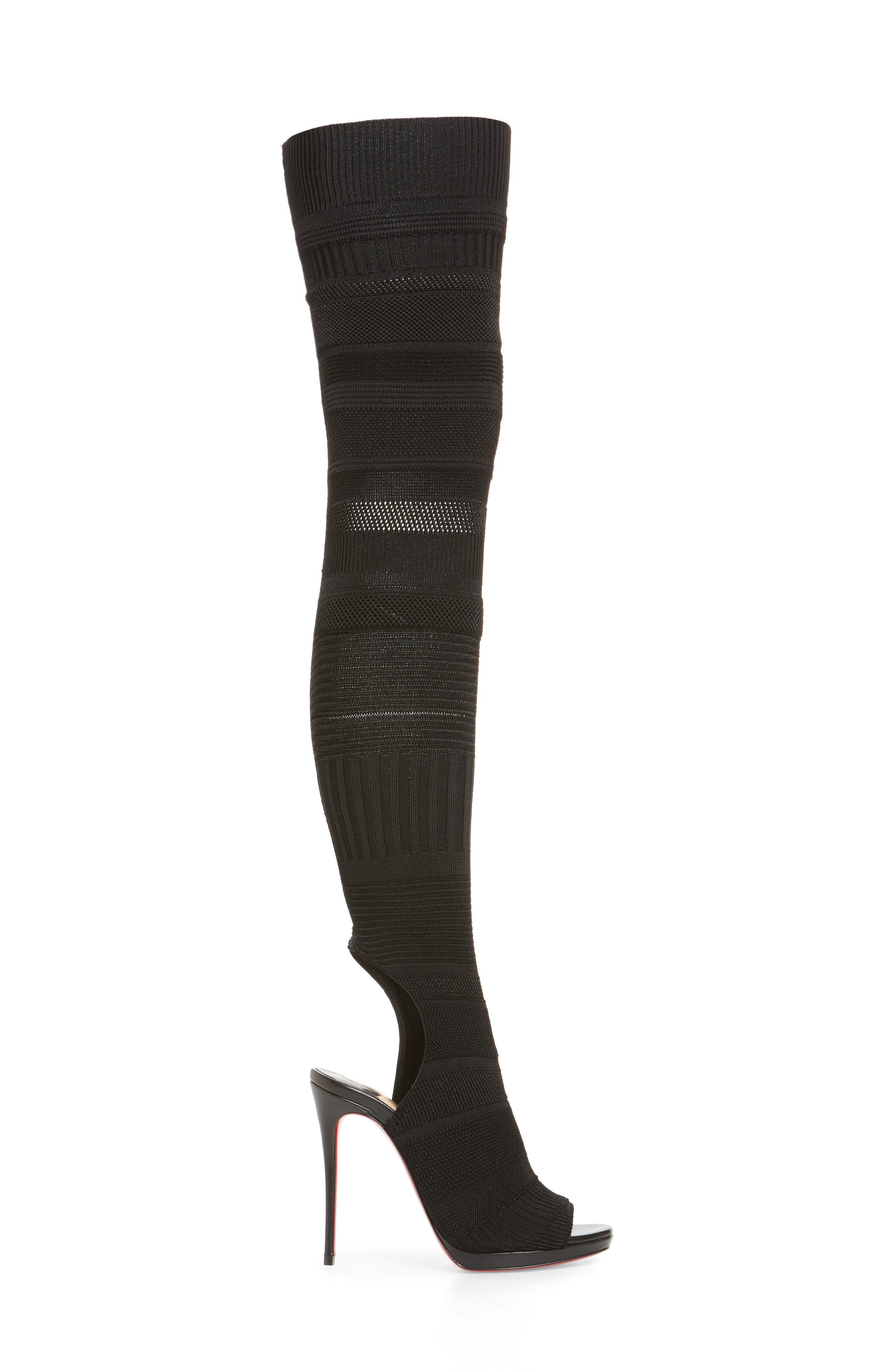Cheminetta Over the Knee Sock Sandal,                             Alternate thumbnail 3, color,                             Black