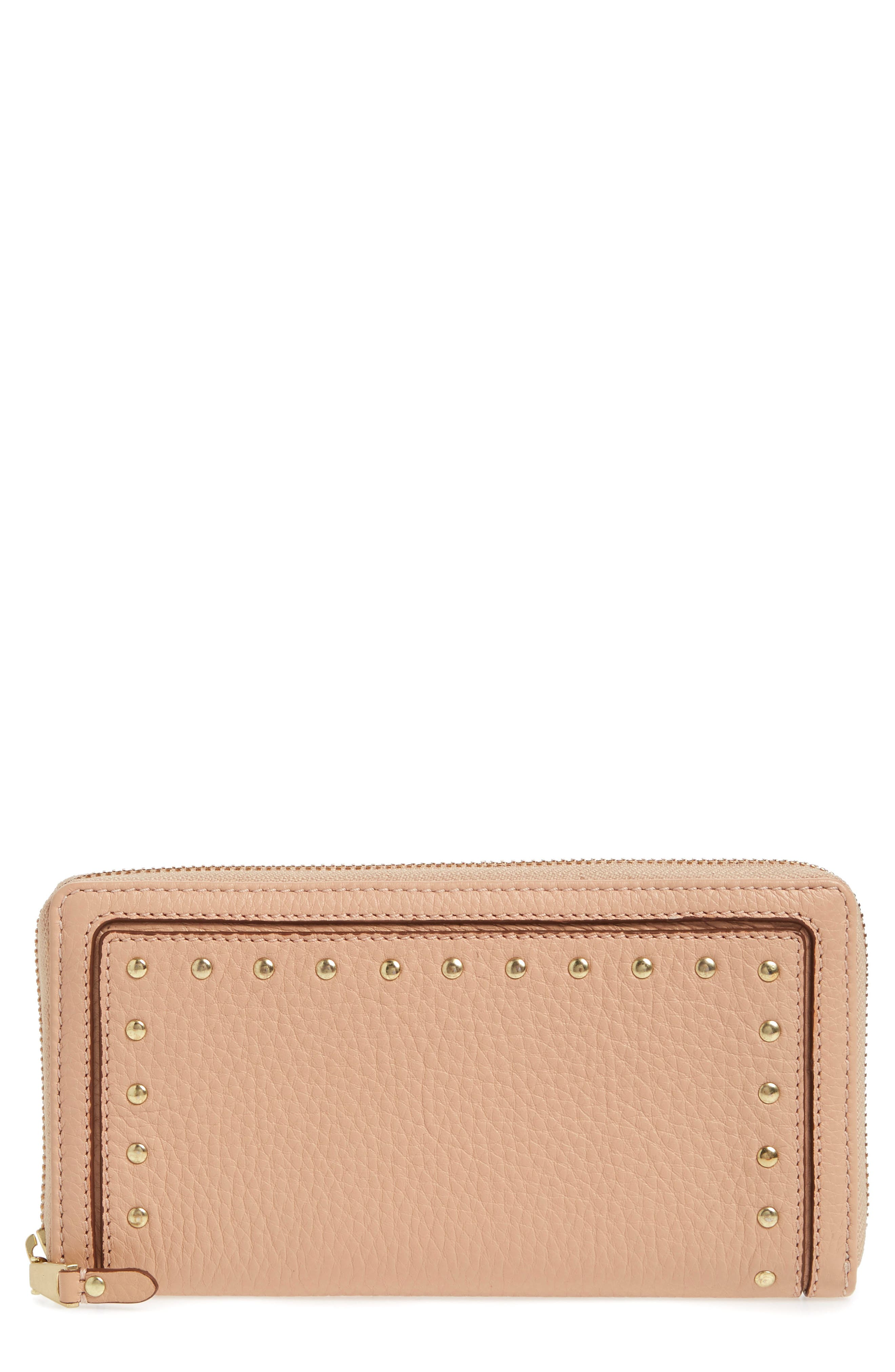 Cassidy Leather RFID Continental Zip Wallet,                         Main,                         color, Nude