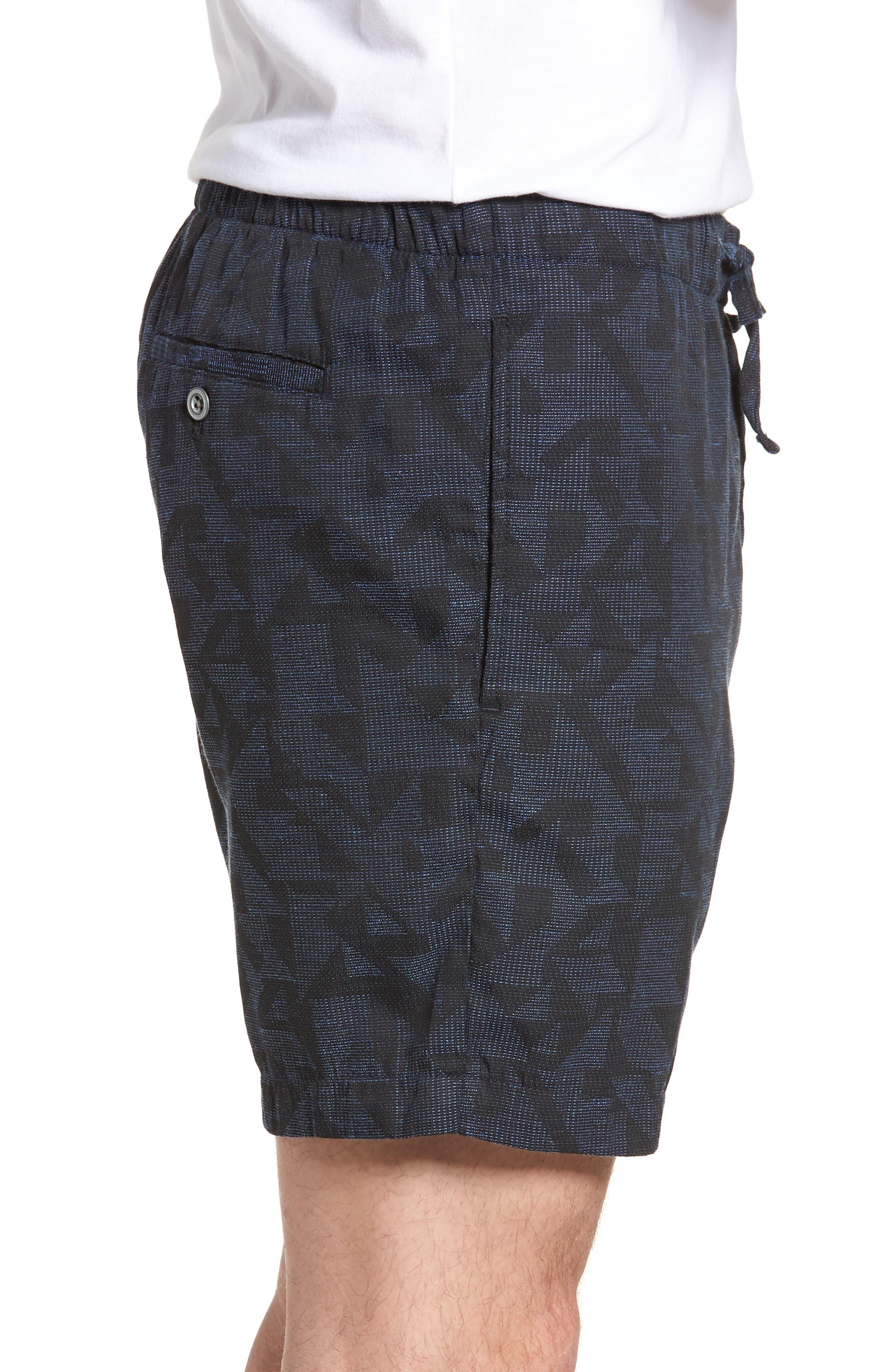 Print Beach Shorts,                             Alternate thumbnail 3, color,                             Navy Triangle Jacquard