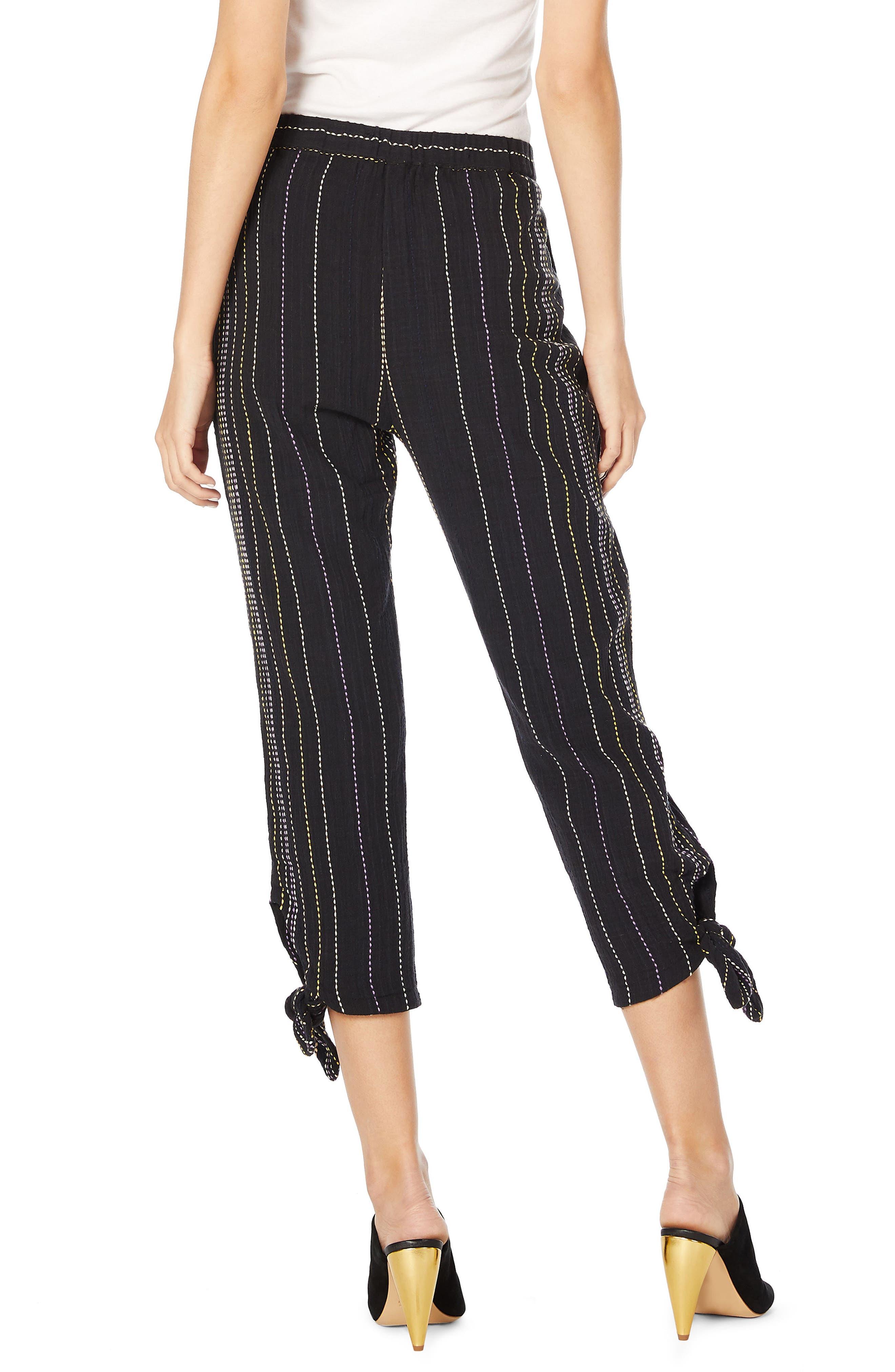 Beach Stripe Capri Pants,                             Alternate thumbnail 2, color,                             Black