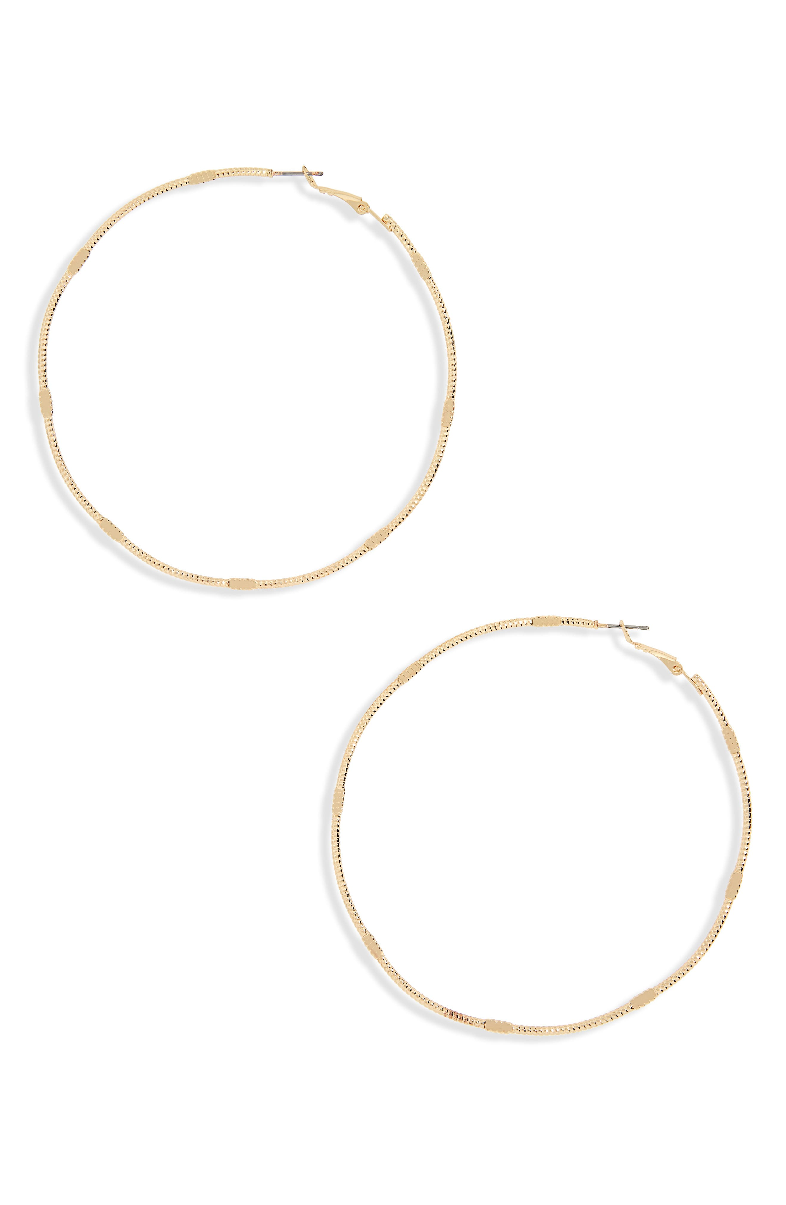 Flat Detail Oversize Hoop Earrings,                         Main,                         color, Gold