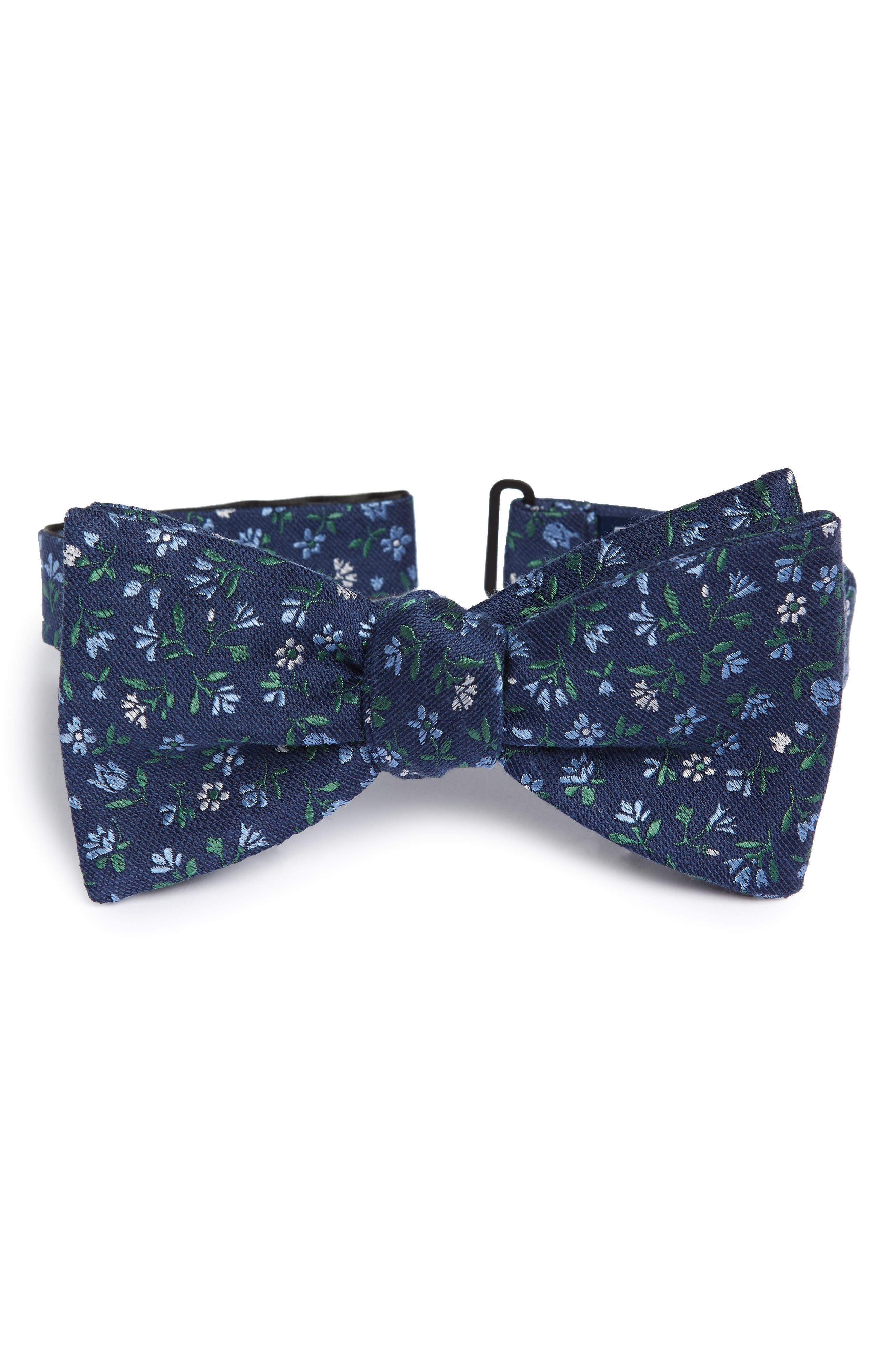 Floral Acres Bow Tie,                             Main thumbnail 1, color,                             Navy