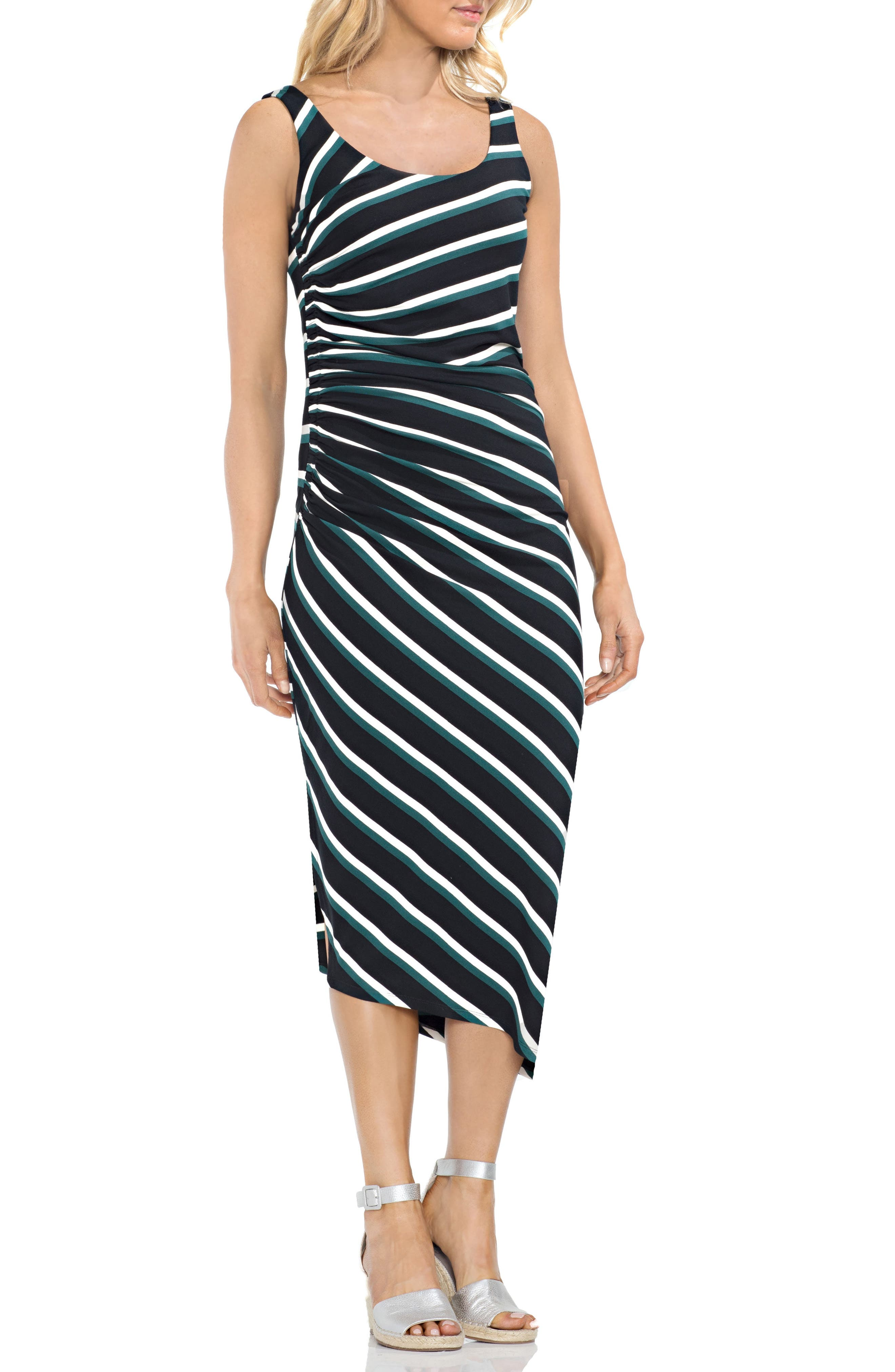 Ruched Stripe Dress,                             Main thumbnail 1, color,                             Verdant Green
