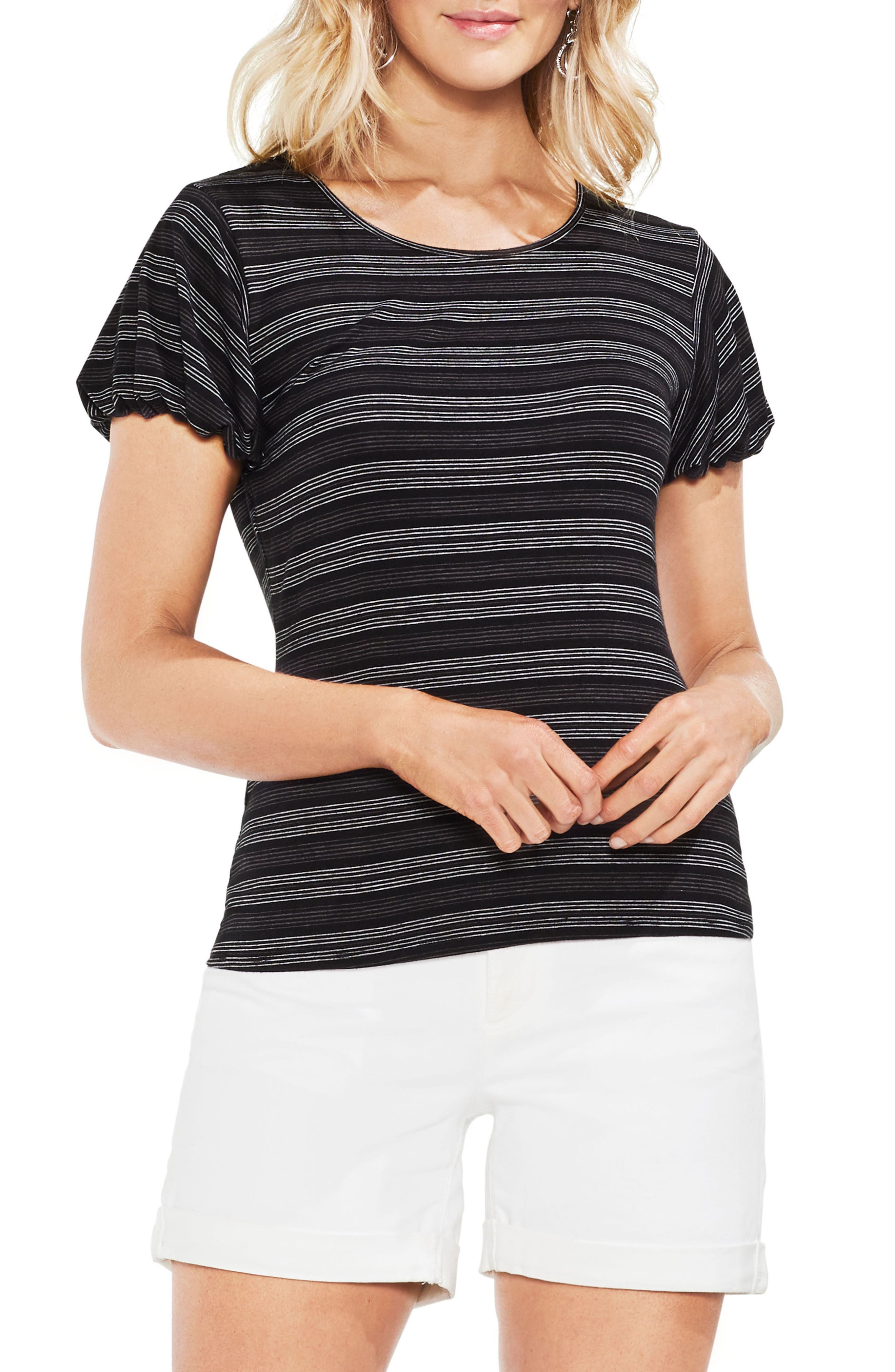 Striped Short Sleeve Top,                         Main,                         color, Rich Black