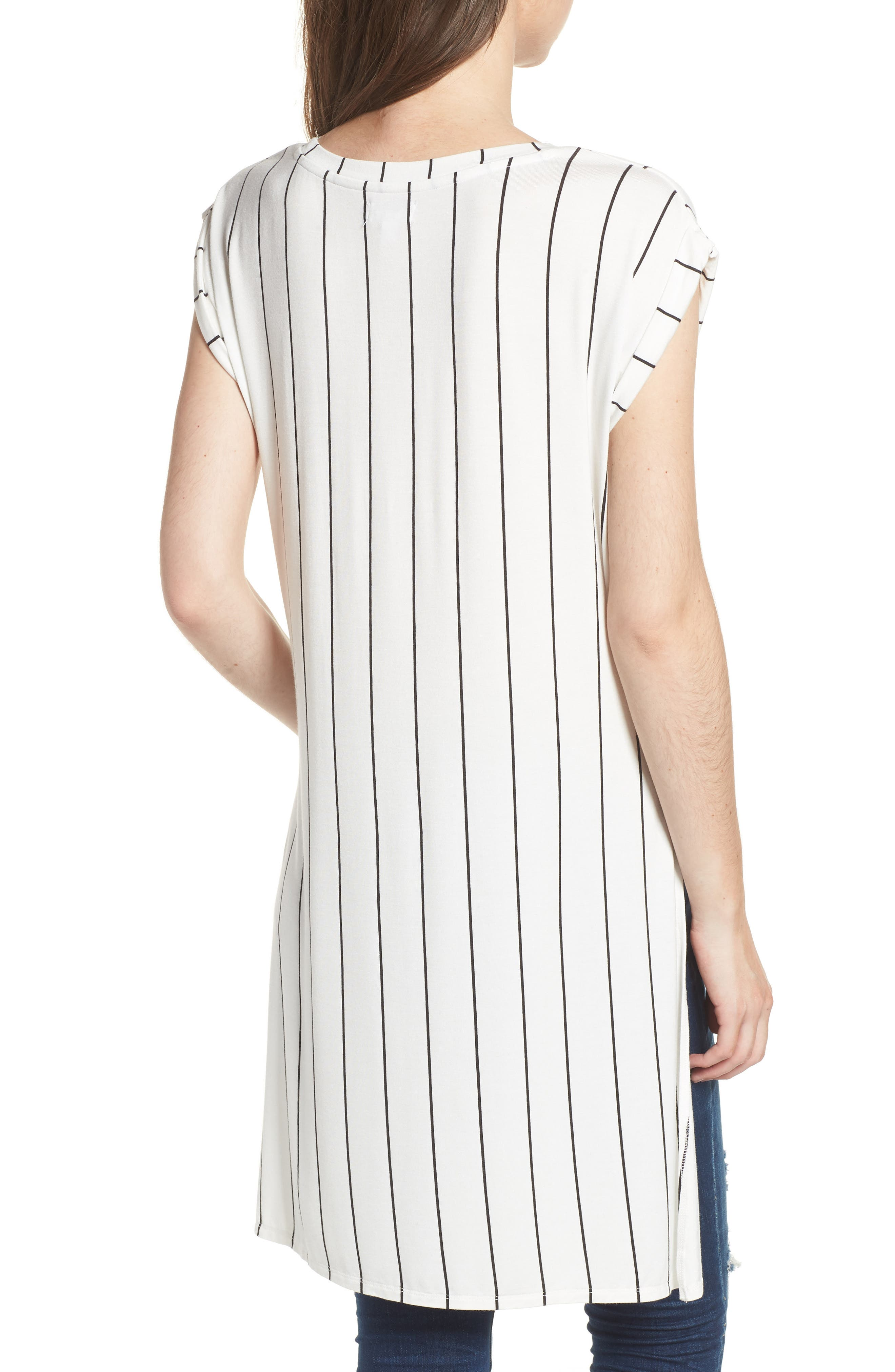 High/Low Knot Front Top,                             Alternate thumbnail 2, color,                             White/ Black Stripe