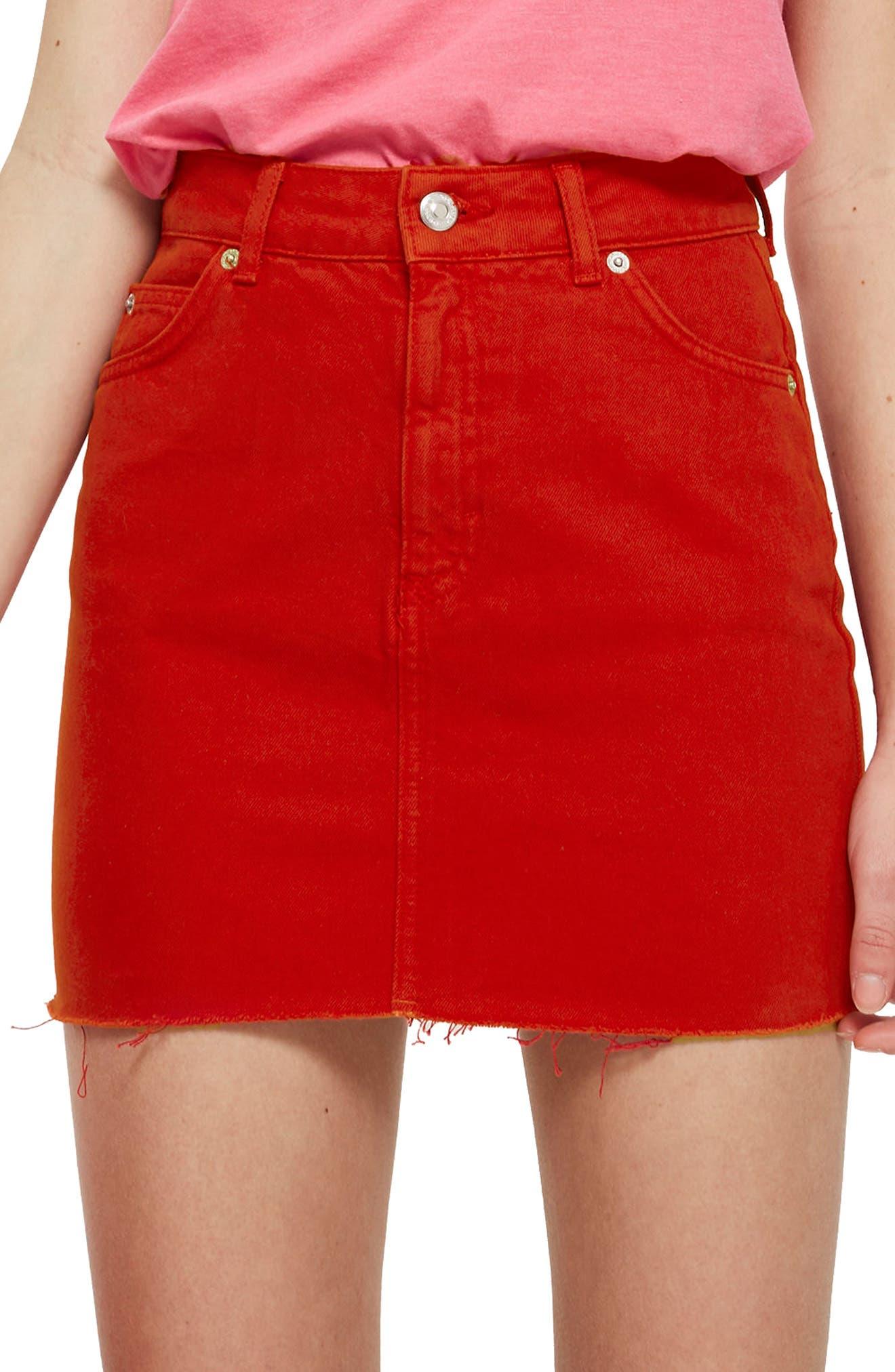 Fray Hem Miniskirt,                             Alternate thumbnail 3, color,                             Red