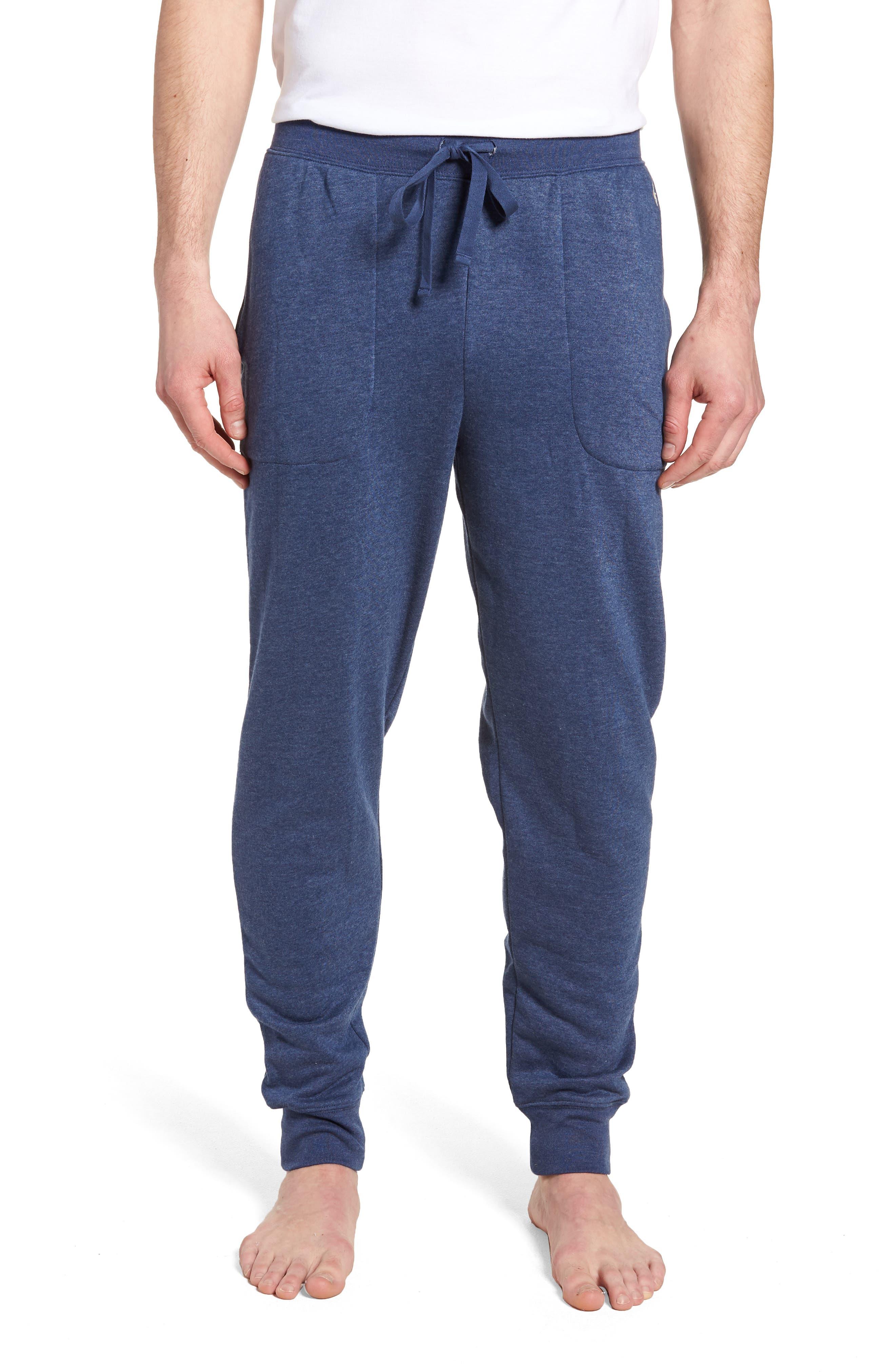 Brushed Jersey Cotton Blend Jogger Pants,                         Main,                         color, Blue