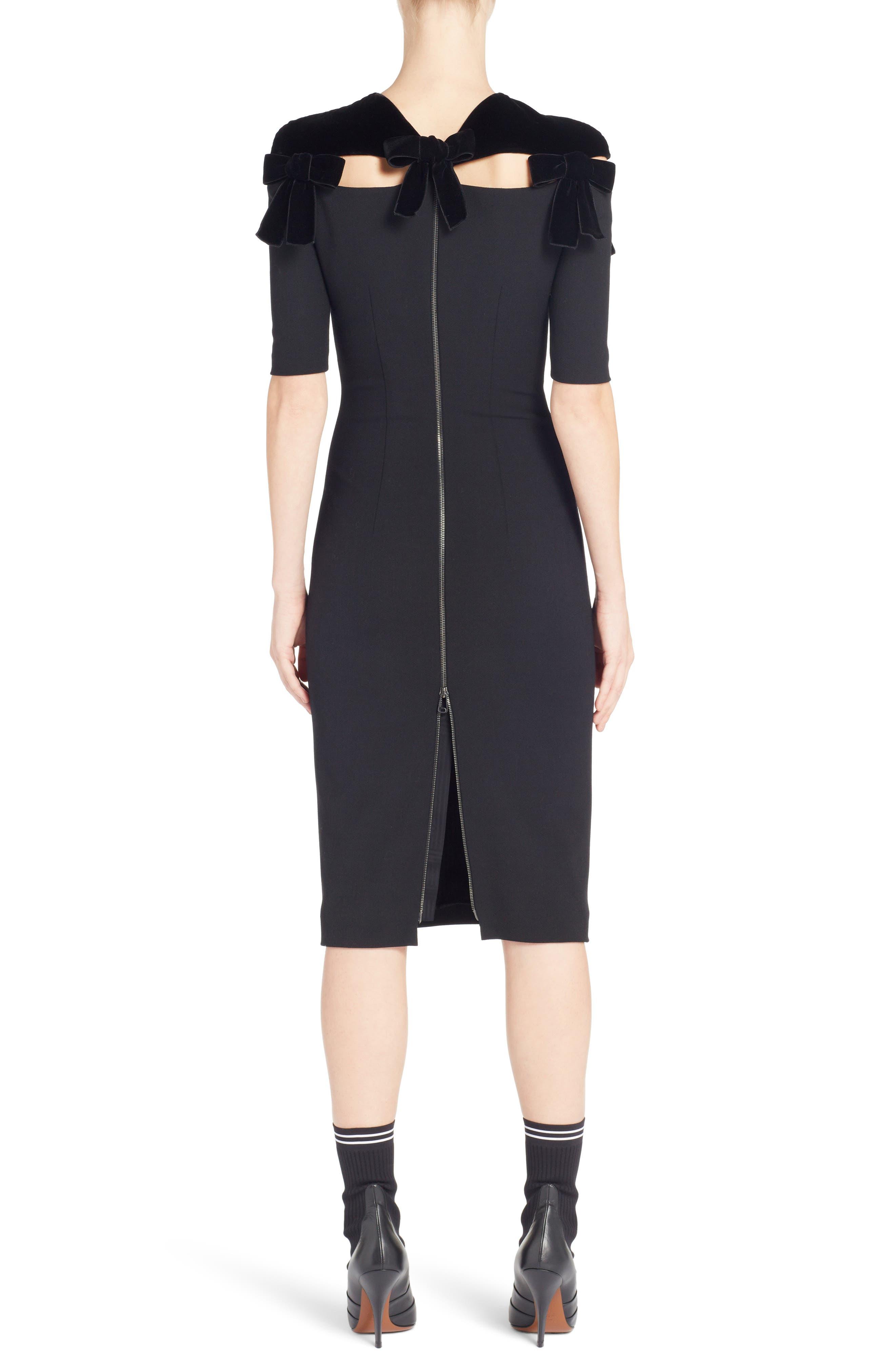 Velvet Bow Detail Stretch Dress,                             Alternate thumbnail 2, color,                             Black