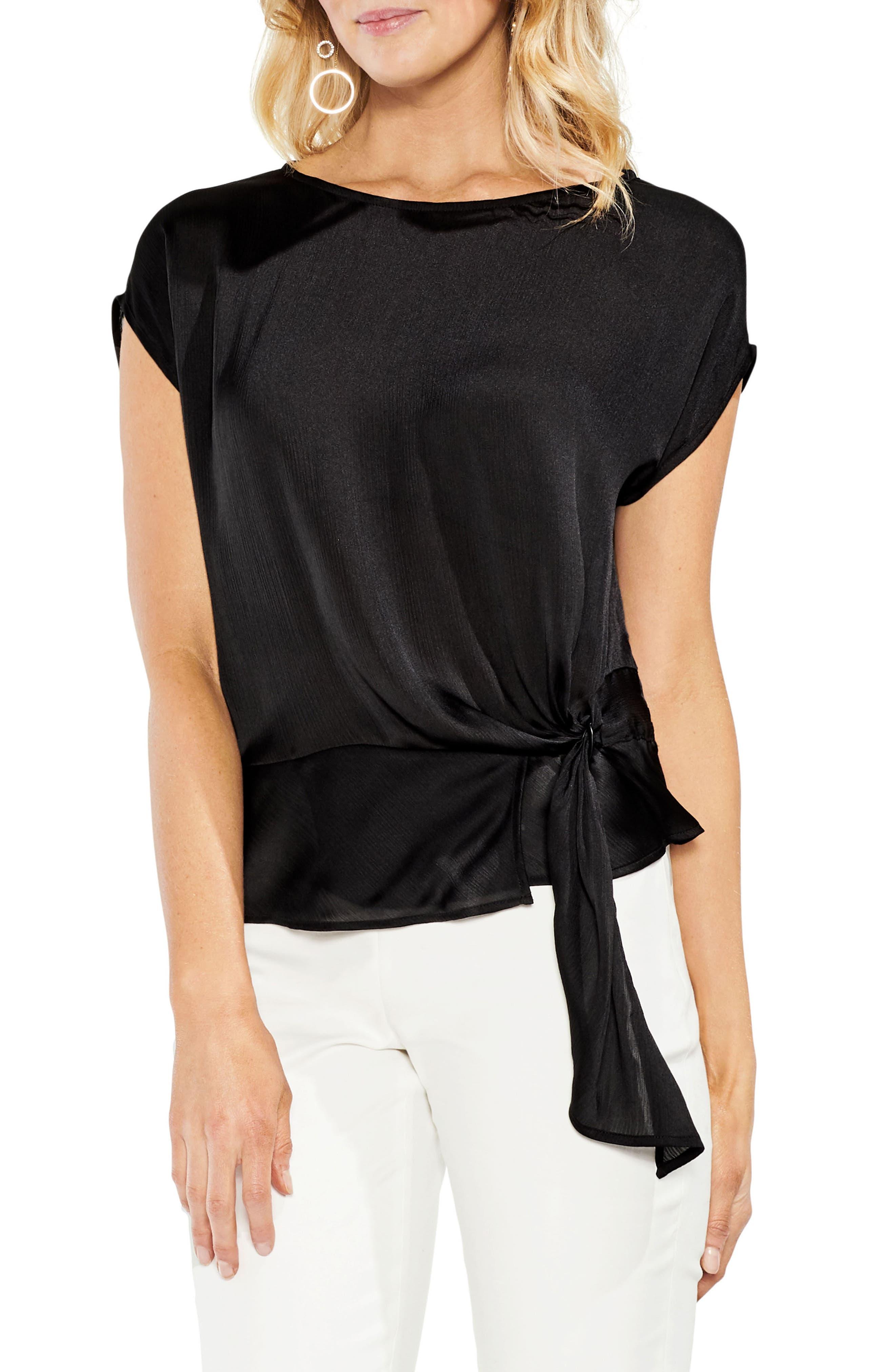 Side Tie Satin Blouse,                         Main,                         color, Rich Black