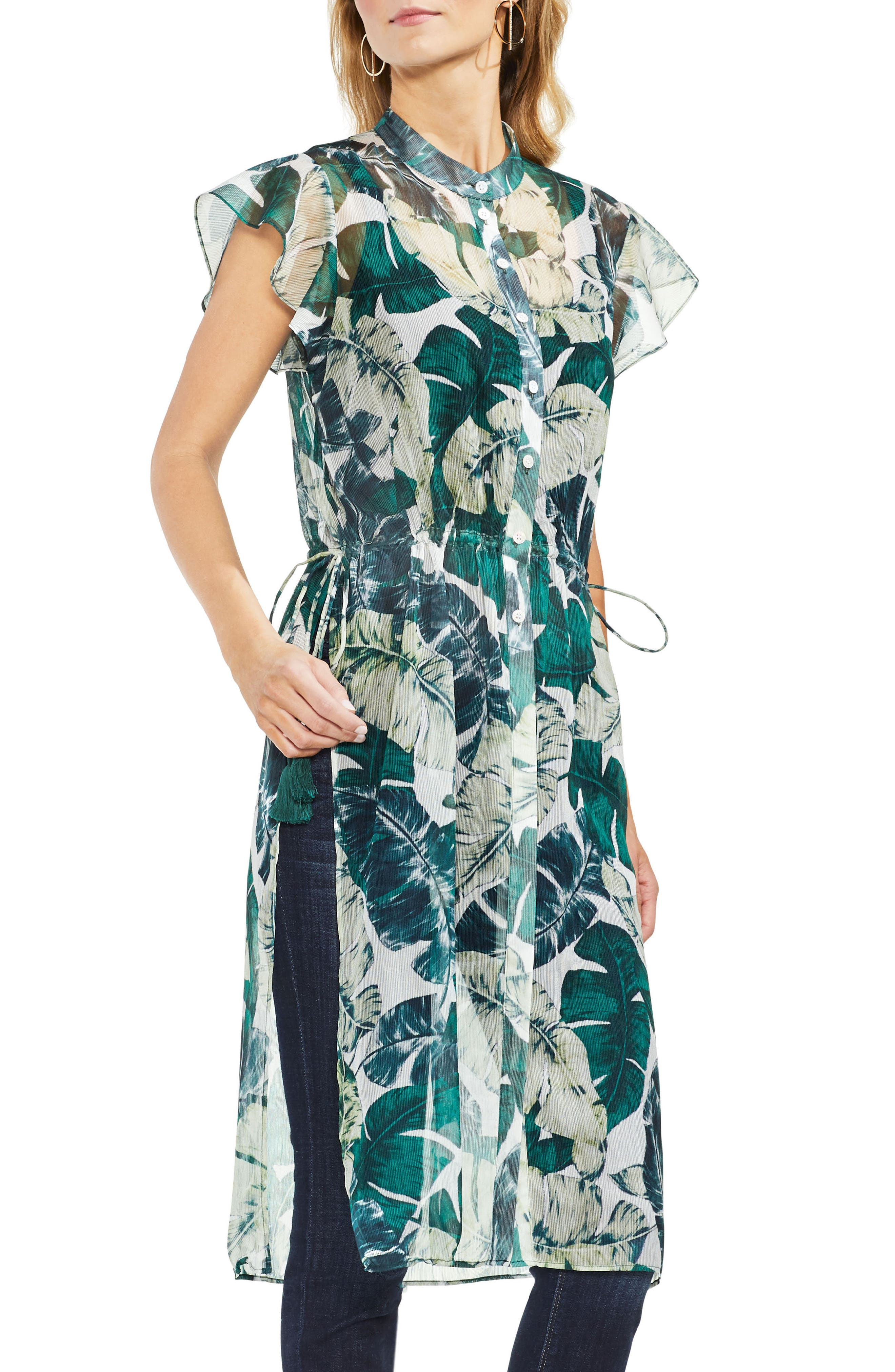 Jungle Palm Side Tie Tunic,                             Main thumbnail 1, color,                             New Ivory