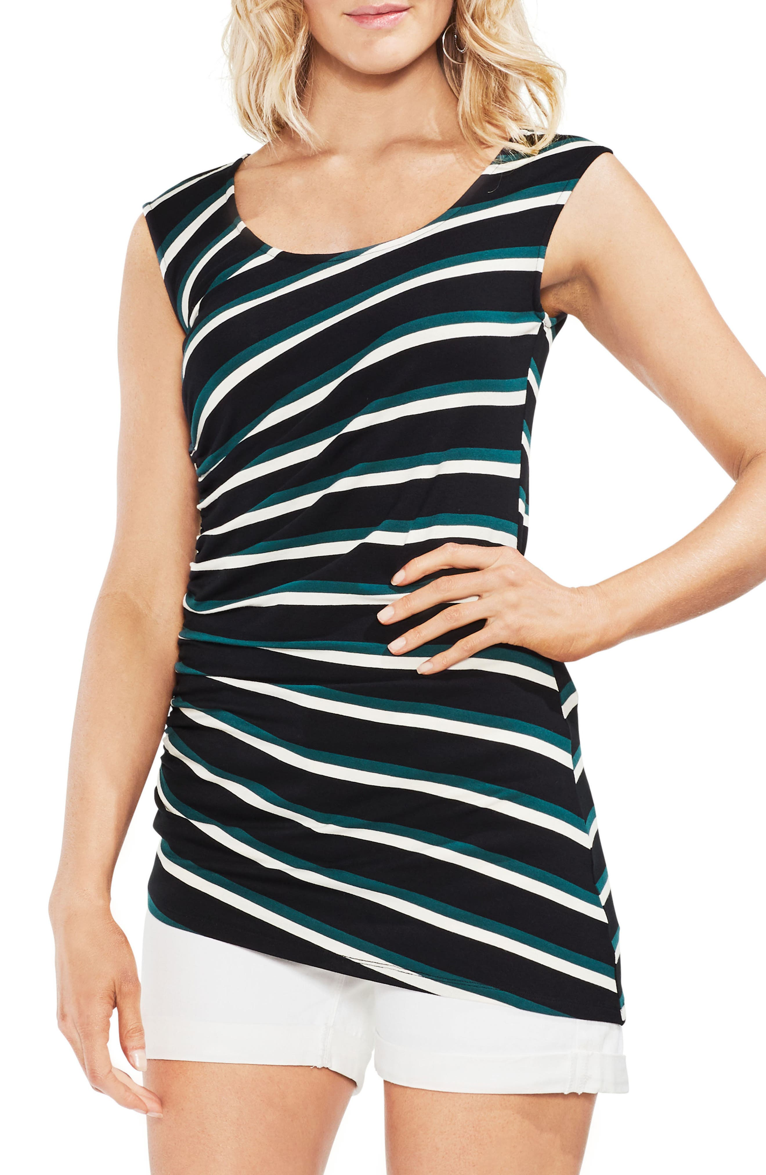 Ruched Stripe Tank Top,                         Main,                         color, Verdant Green