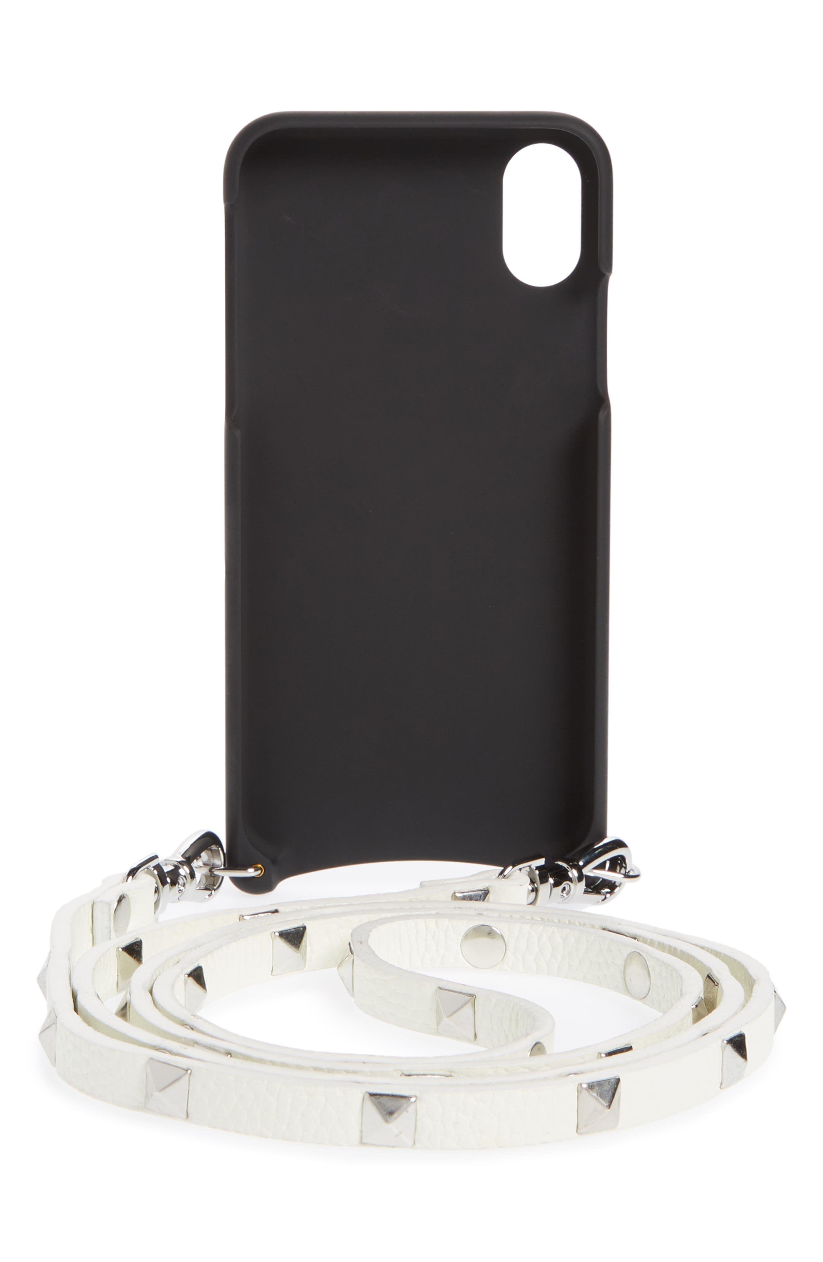 Sarah Leather iPhone X Crossbody Case,                             Alternate thumbnail 3, color,                             White/ Silver