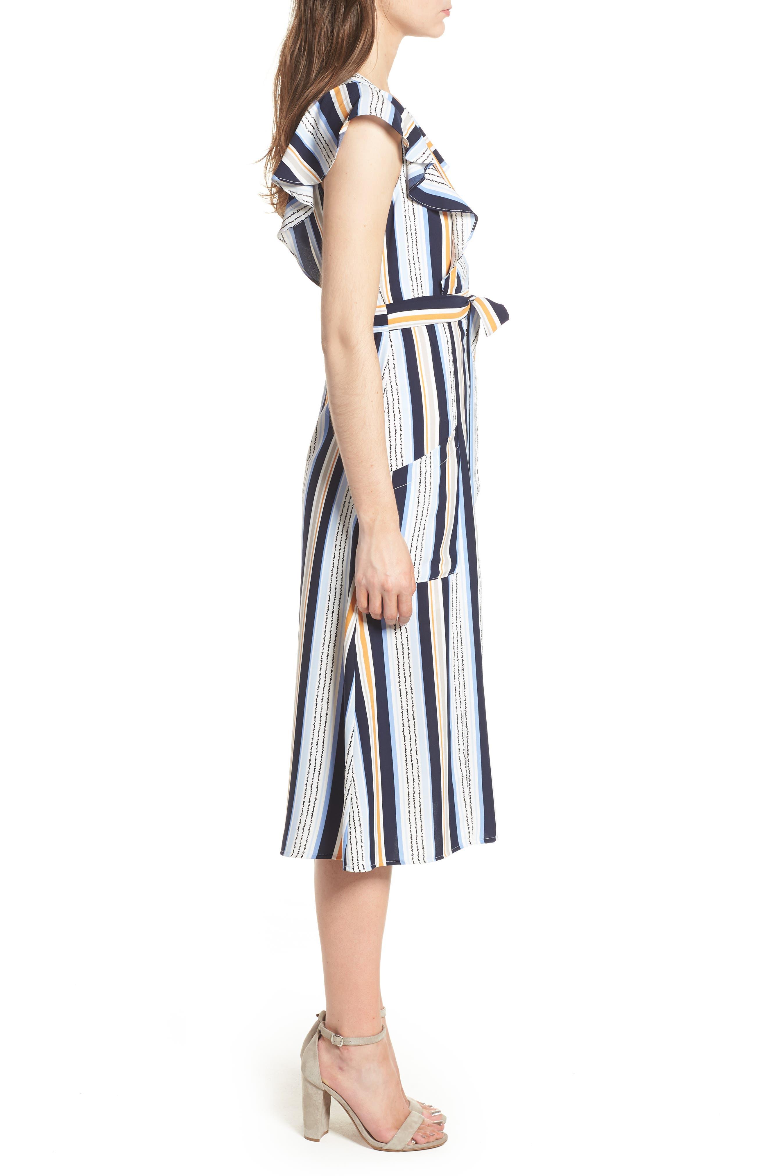 Claudia Stripe Midi Dress,                             Alternate thumbnail 4, color,                             Blue/ Orange Stripe