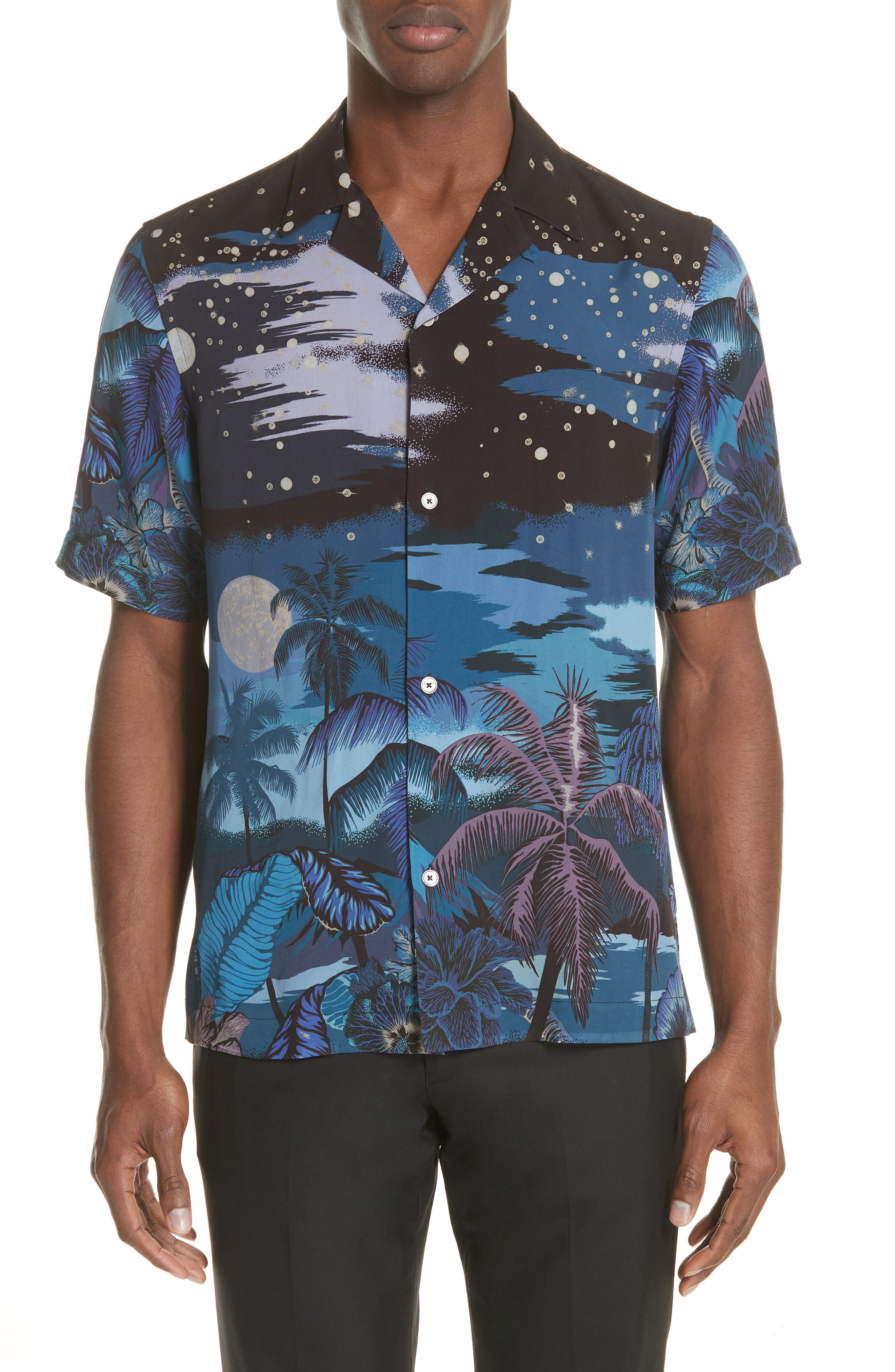 Palm Tree Print Shirt,                         Main,                         color, 47 Midnight