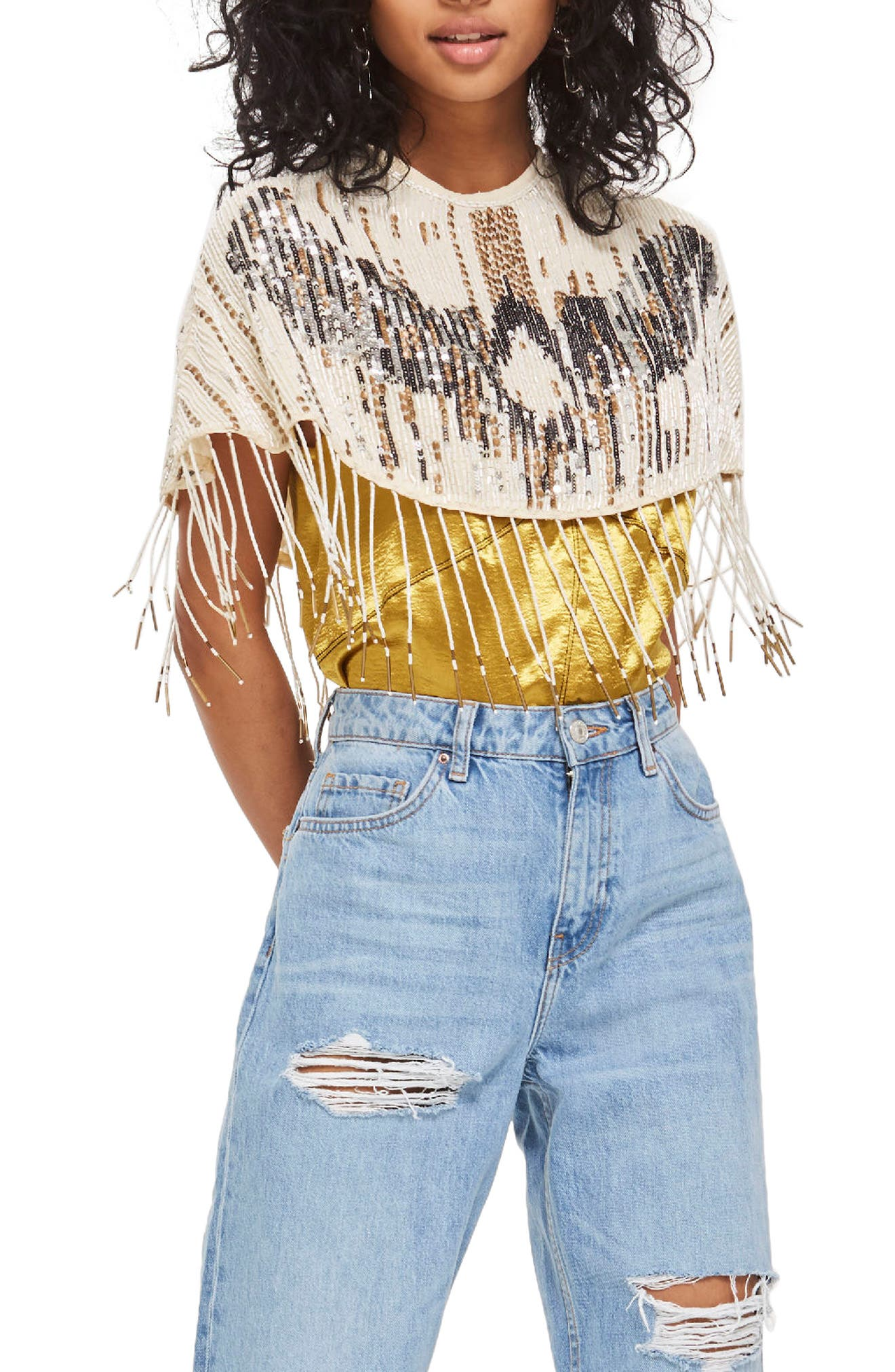 Topshop Festival Beaded Fringe Cape