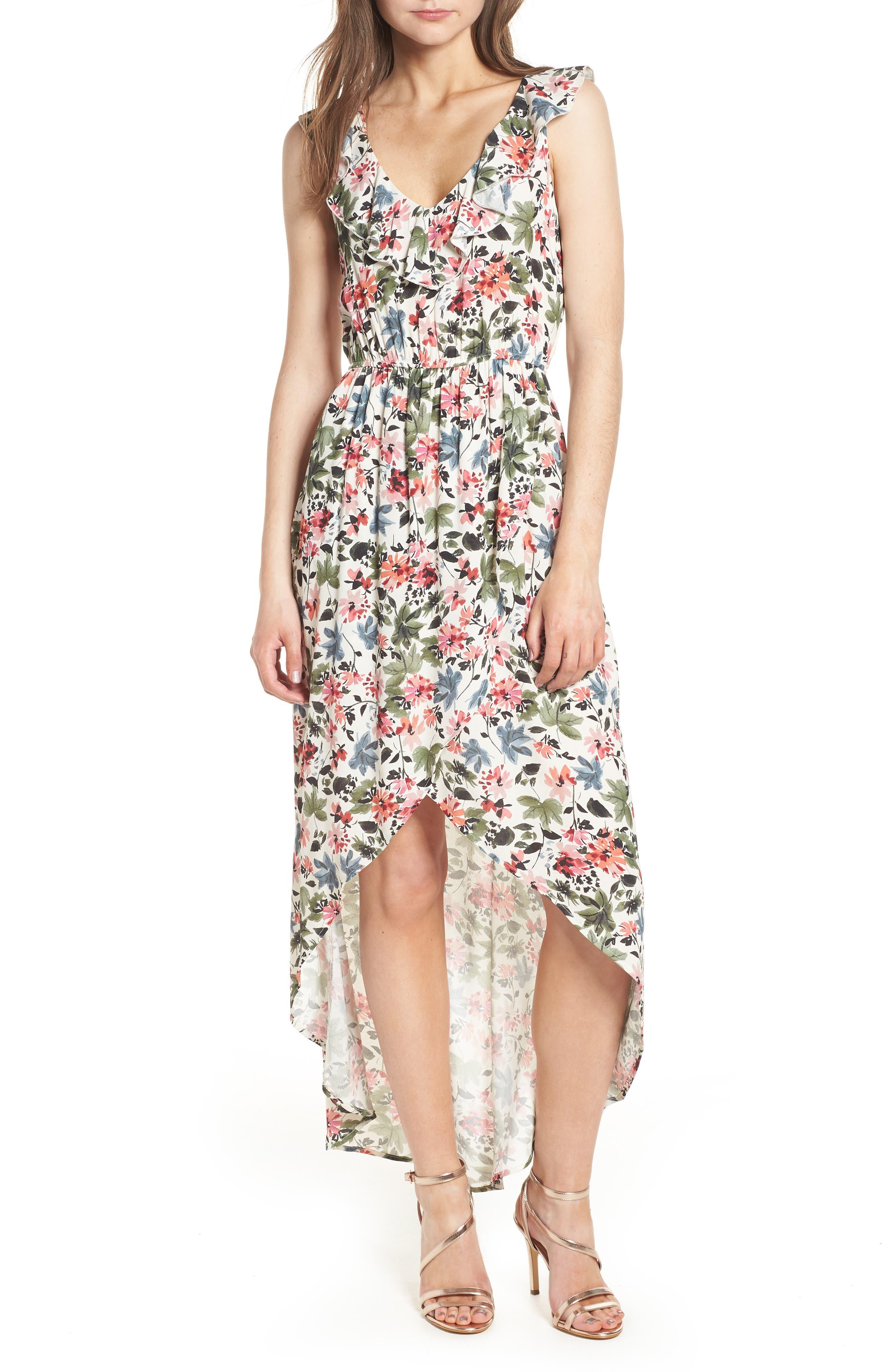Ruffle High/Low Maxi Dress,                         Main,                         color, Ivory/ Sage