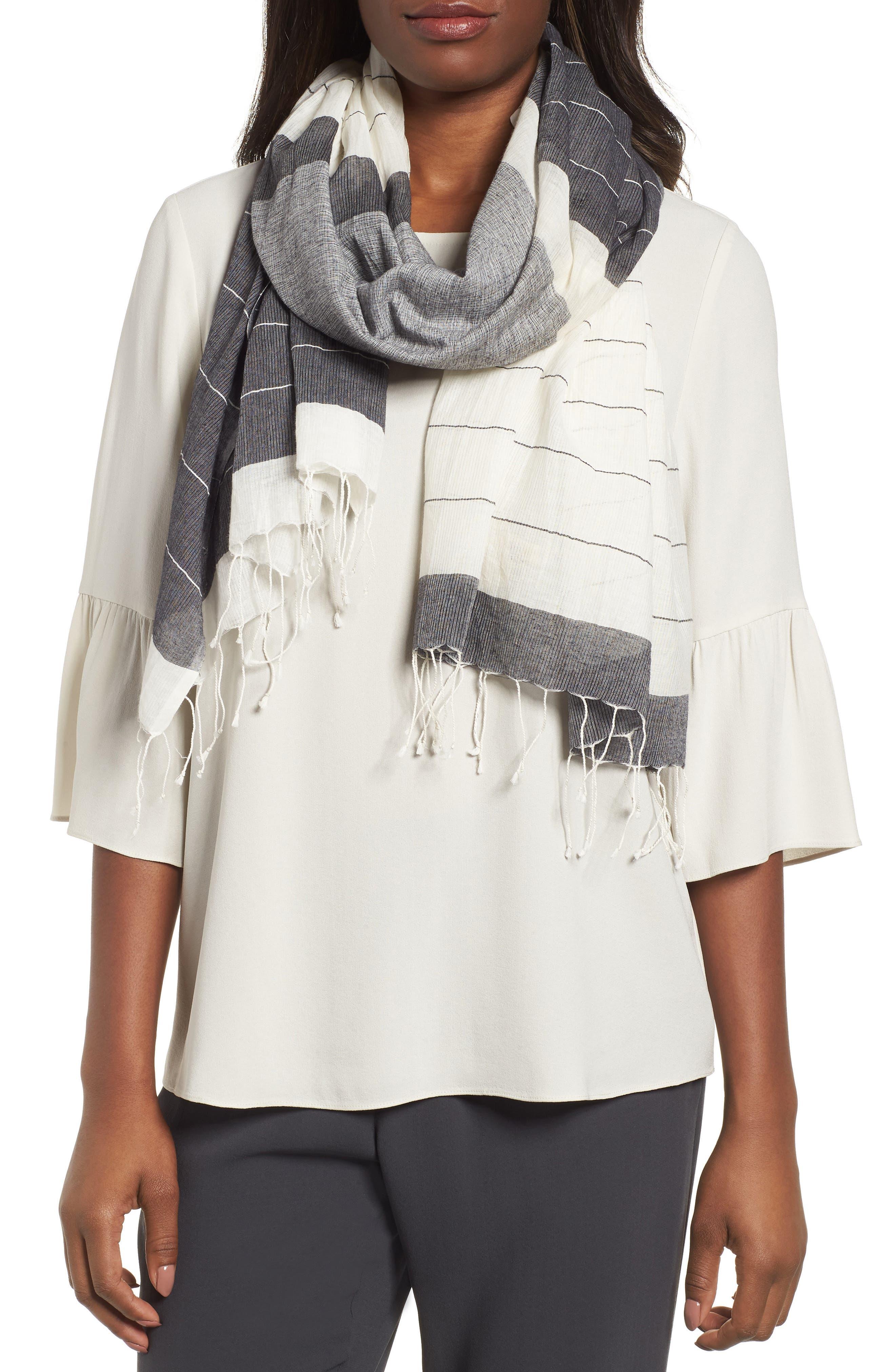 Colorblock Organic Cotton Scarf,                         Main,                         color, Black/ White