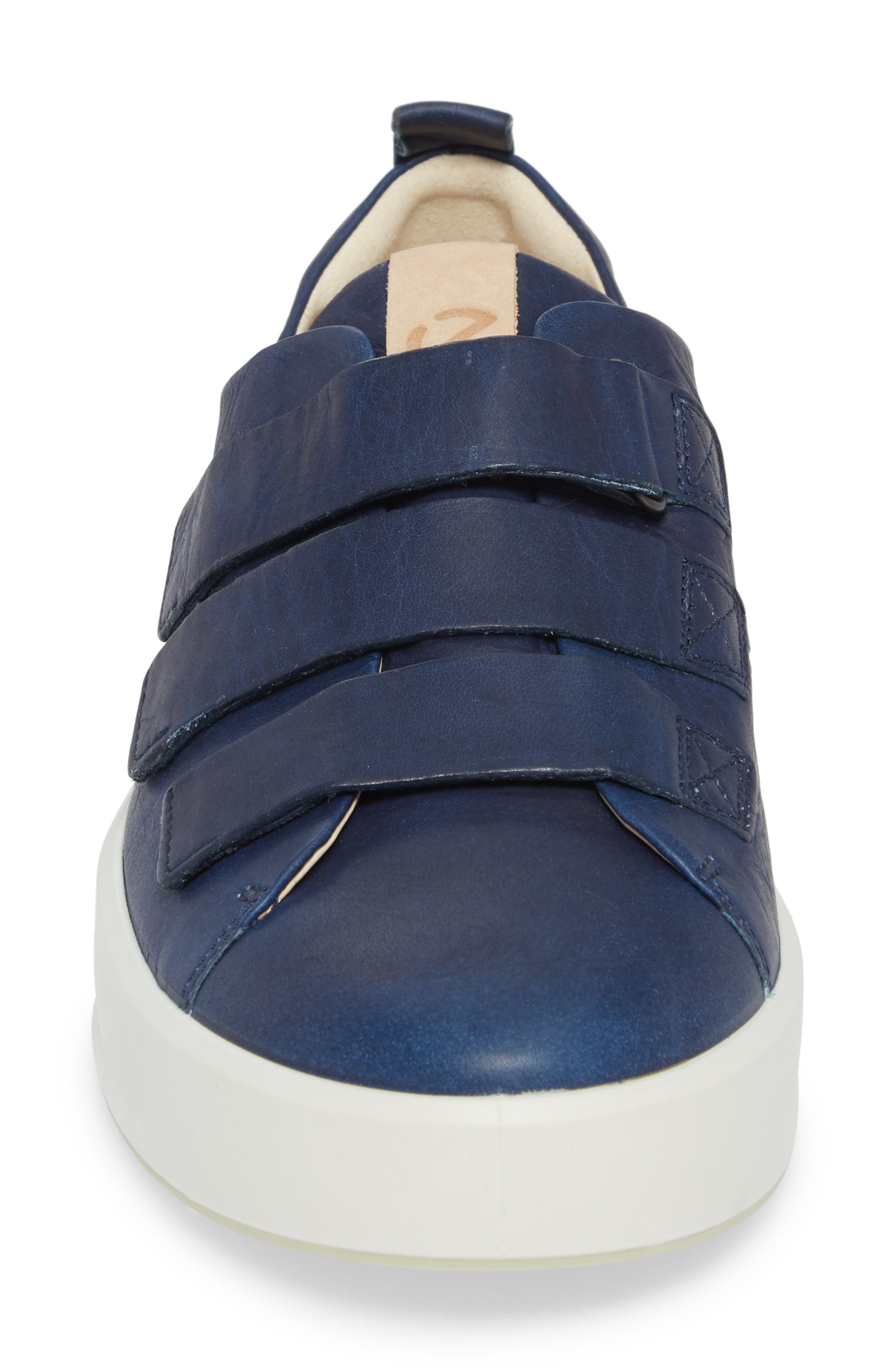 Soft 8 Strap Sneaker,                             Alternate thumbnail 4, color,                             Indigo 7 Leather